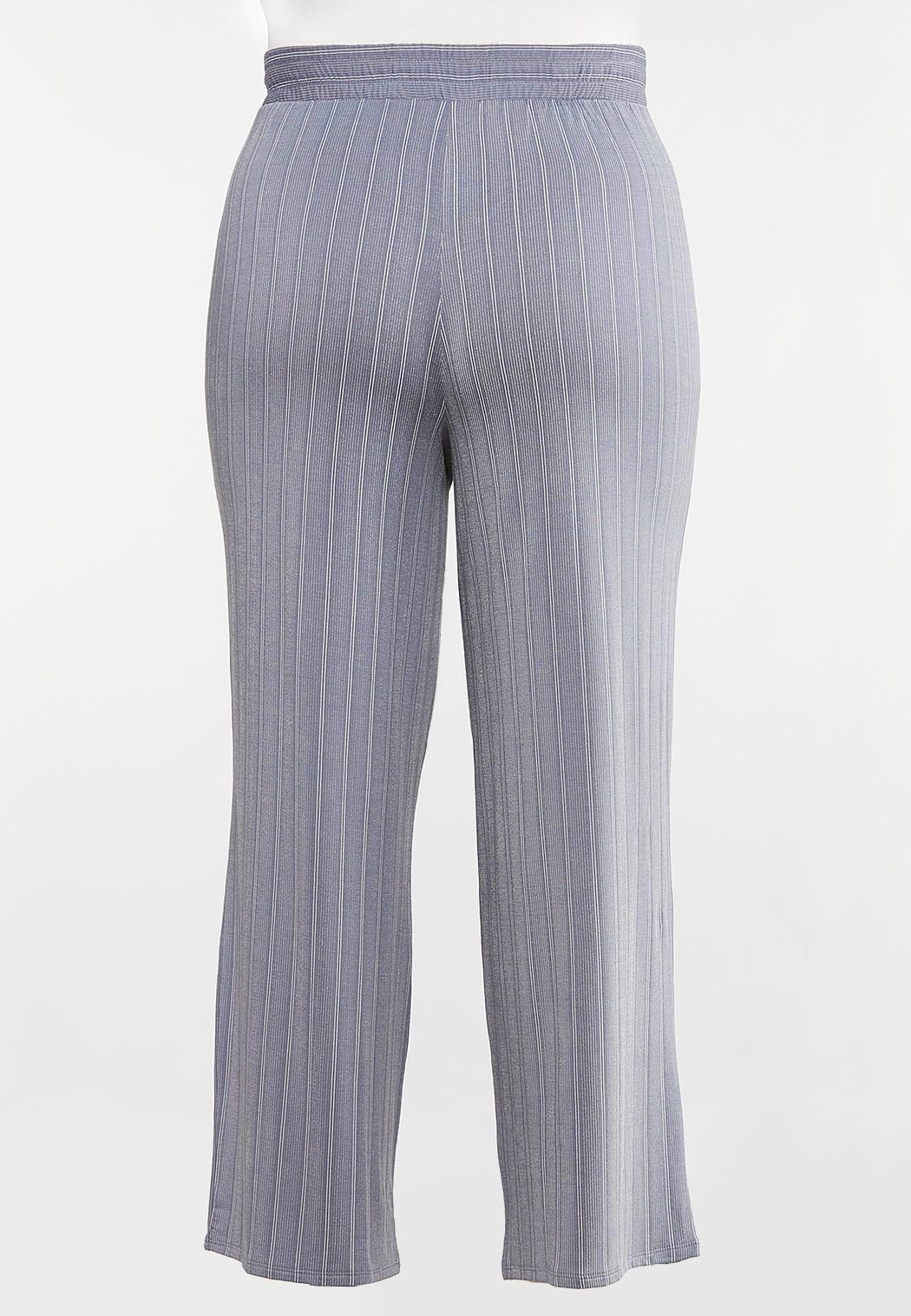 Plus Size Stripe Knit Pants (Item #44092282)