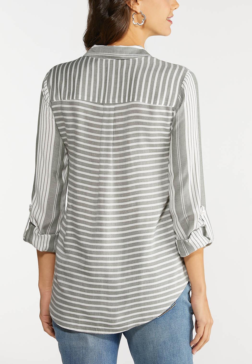 Stripe Tie Front Top (Item #44092560)