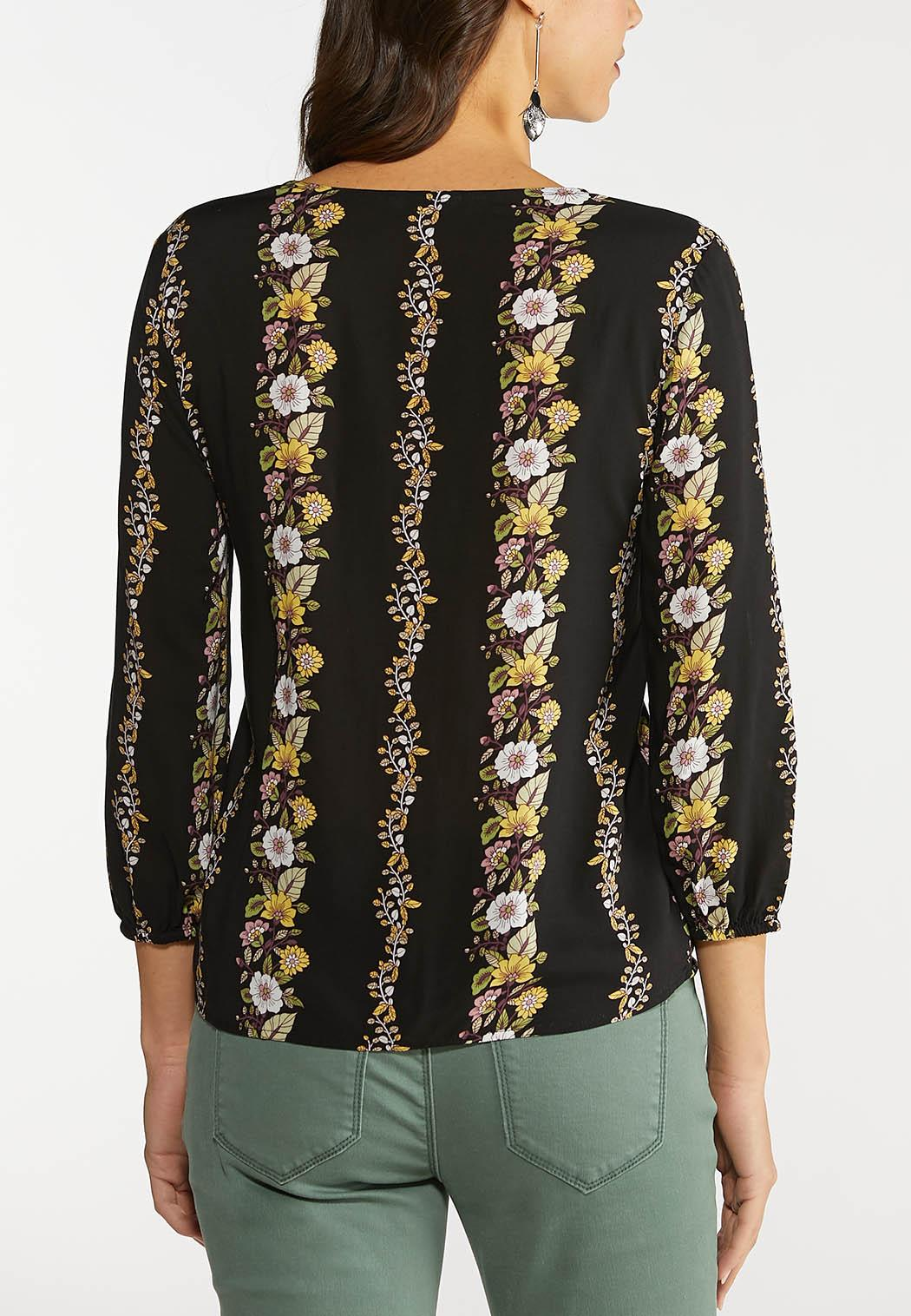Plus Size Tie Front Floral Stripe Top (Item #44092603)