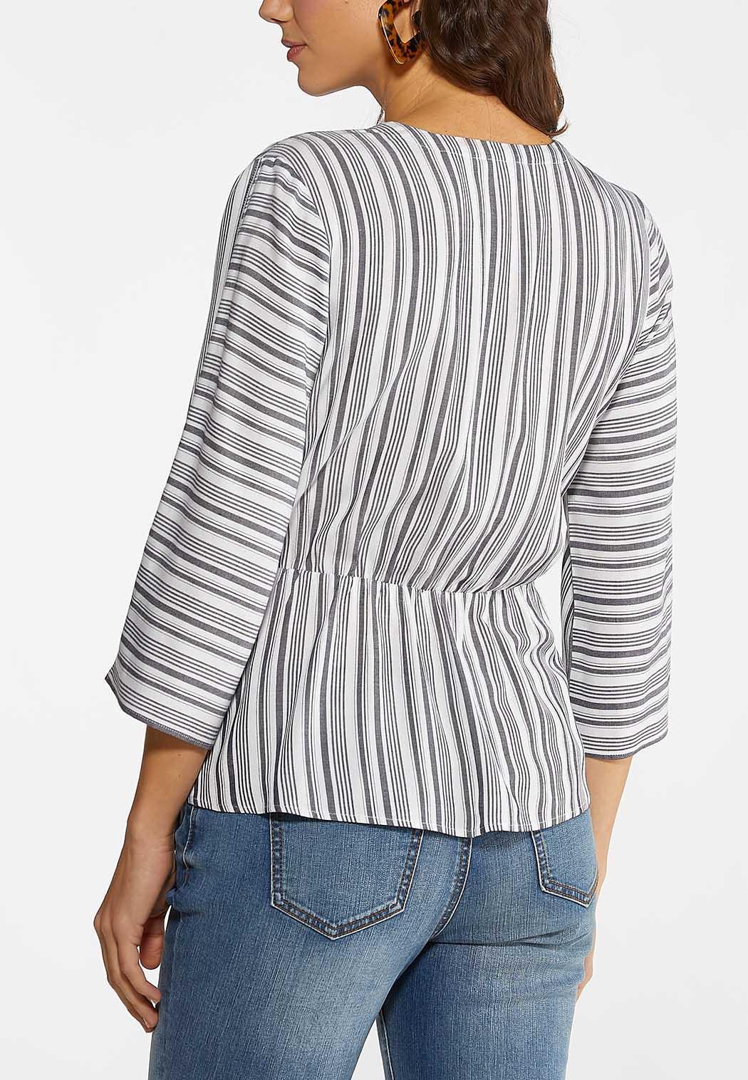Plus Size Navy Stripe Faux Wrap Top (Item #44092938)