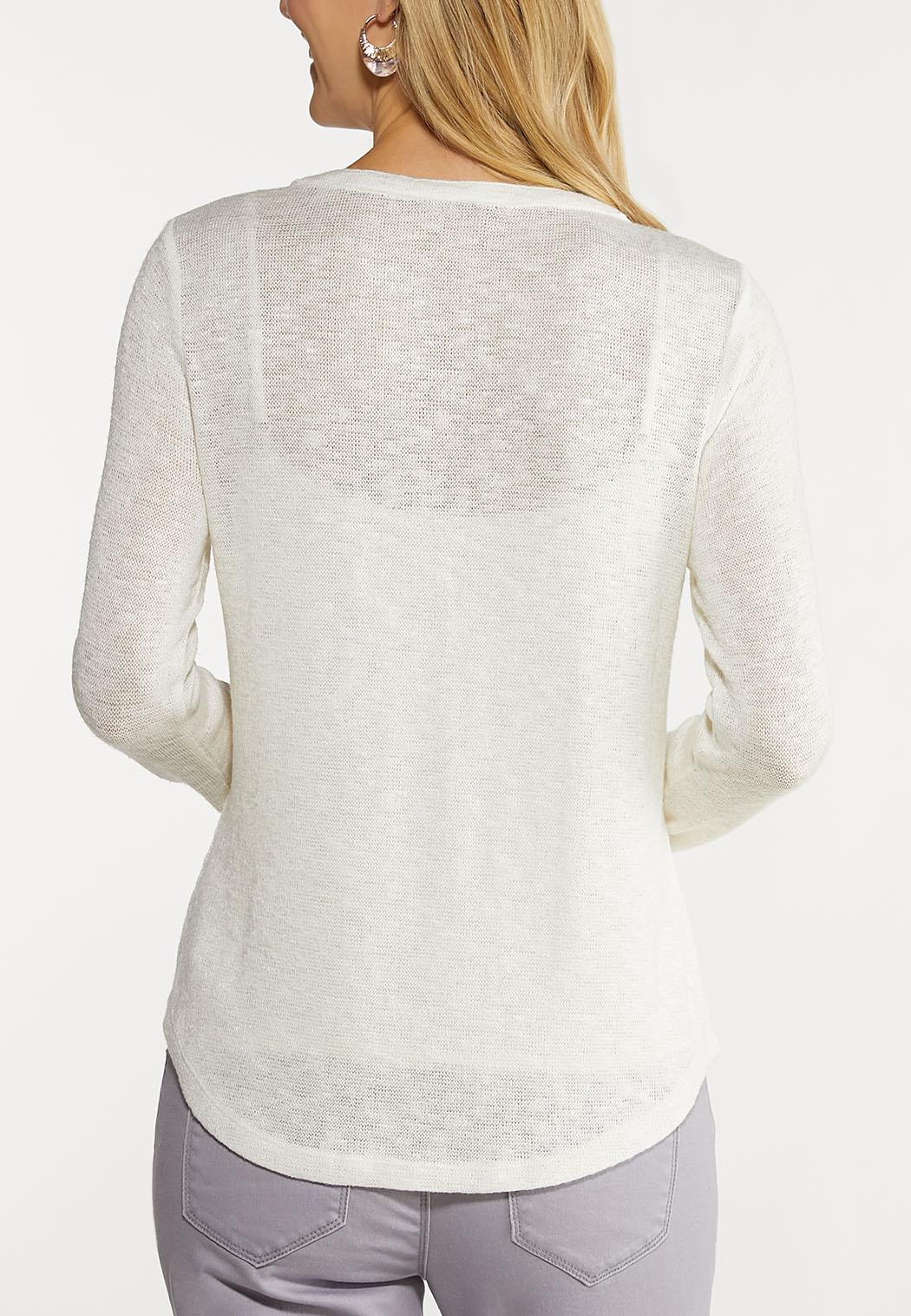 Plus Size Crochet Henley Top (Item #44093058)