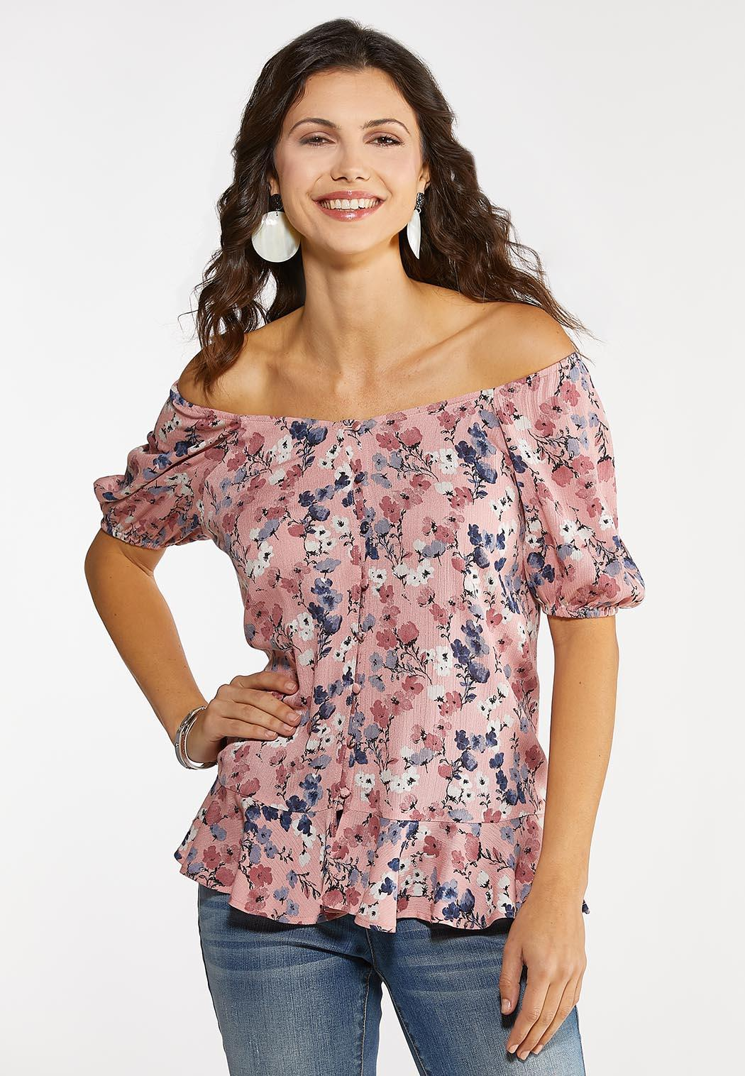 Plus Size Floral Dream Peplum Top (Item #44093151)