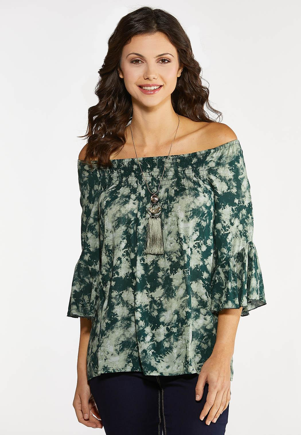 Plus Size Green Tie Dye Poet Top (Item #44093243)