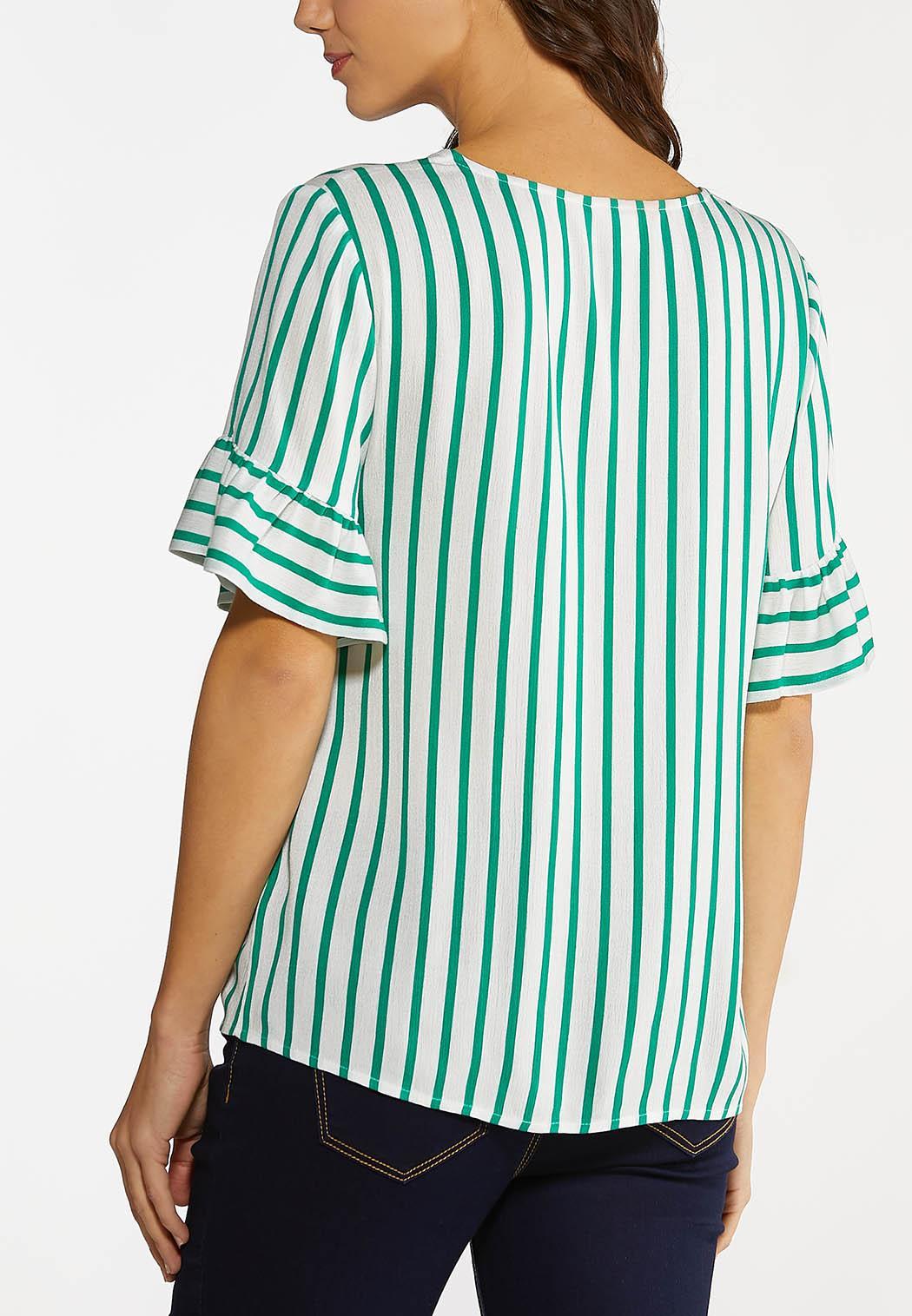 Plus Size Ruffled Green Stripe Top (Item #44093315)