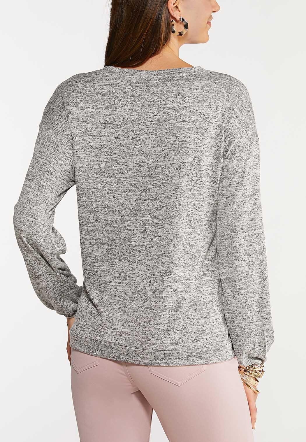 Plus Size Button Side Knit Top (Item #44093592)