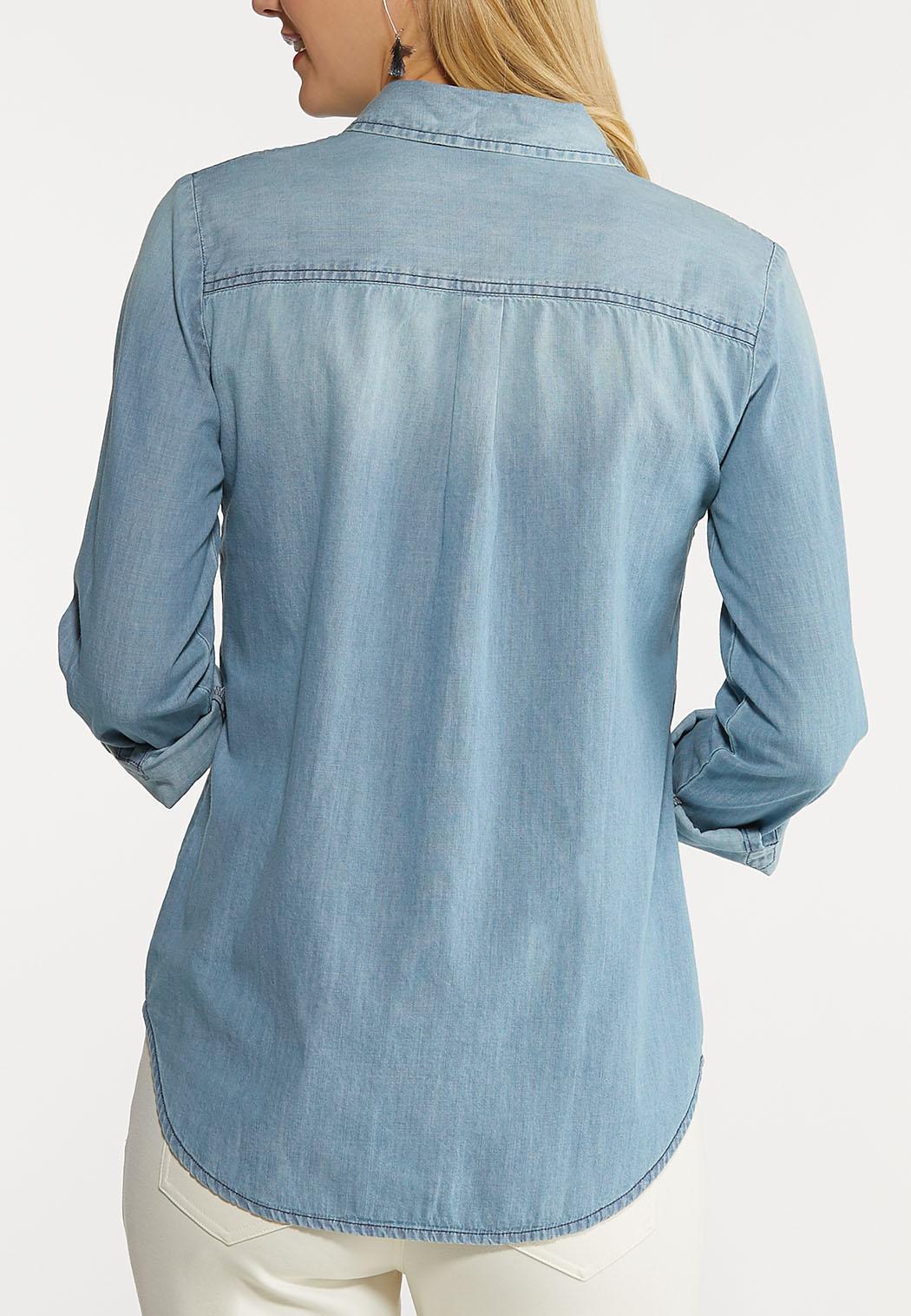 Plus Size Snap Front Denim Top (Item #44093811)