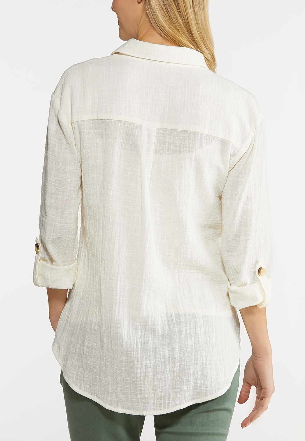 Plus Size Ivory Linen Top (Item #44093941)