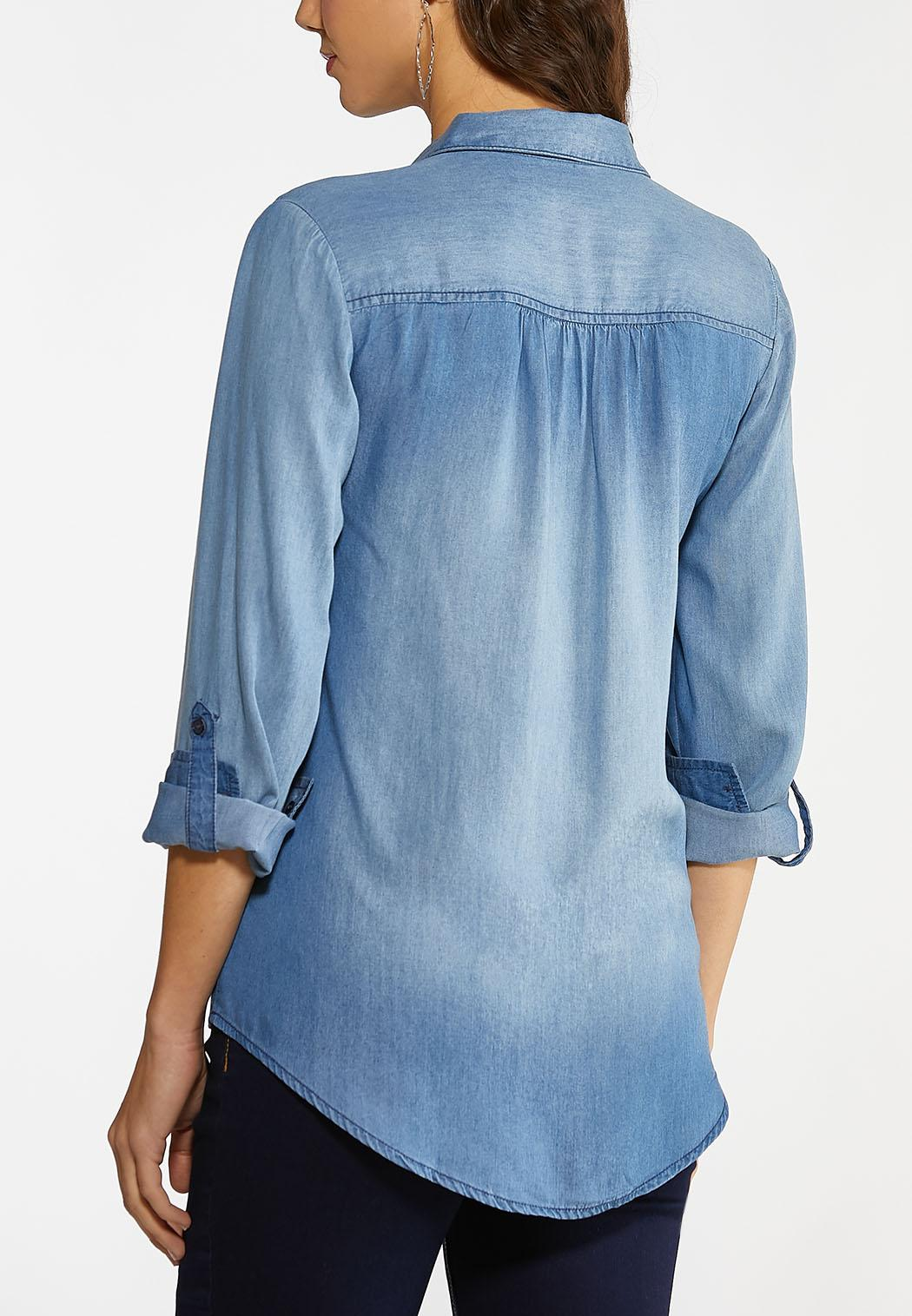 Plus Size Lace Up Chambray Top (Item #44094017)