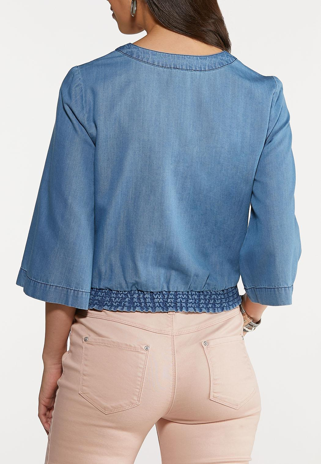 Plus Size Chambray Side Tie Top (Item #44094278)