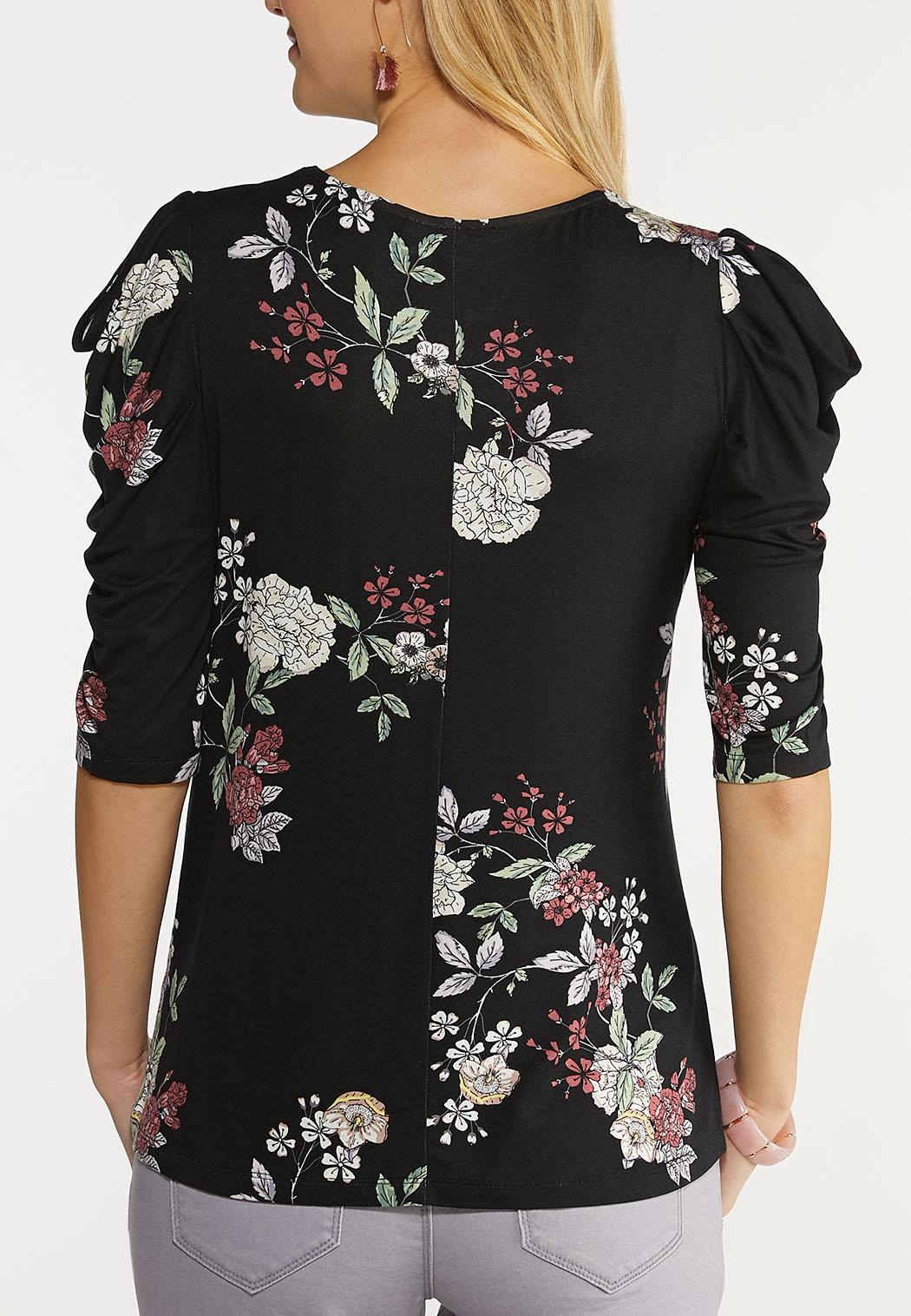 Plus Size Floral Draped Cold Shoulder Top (Item #44094394)