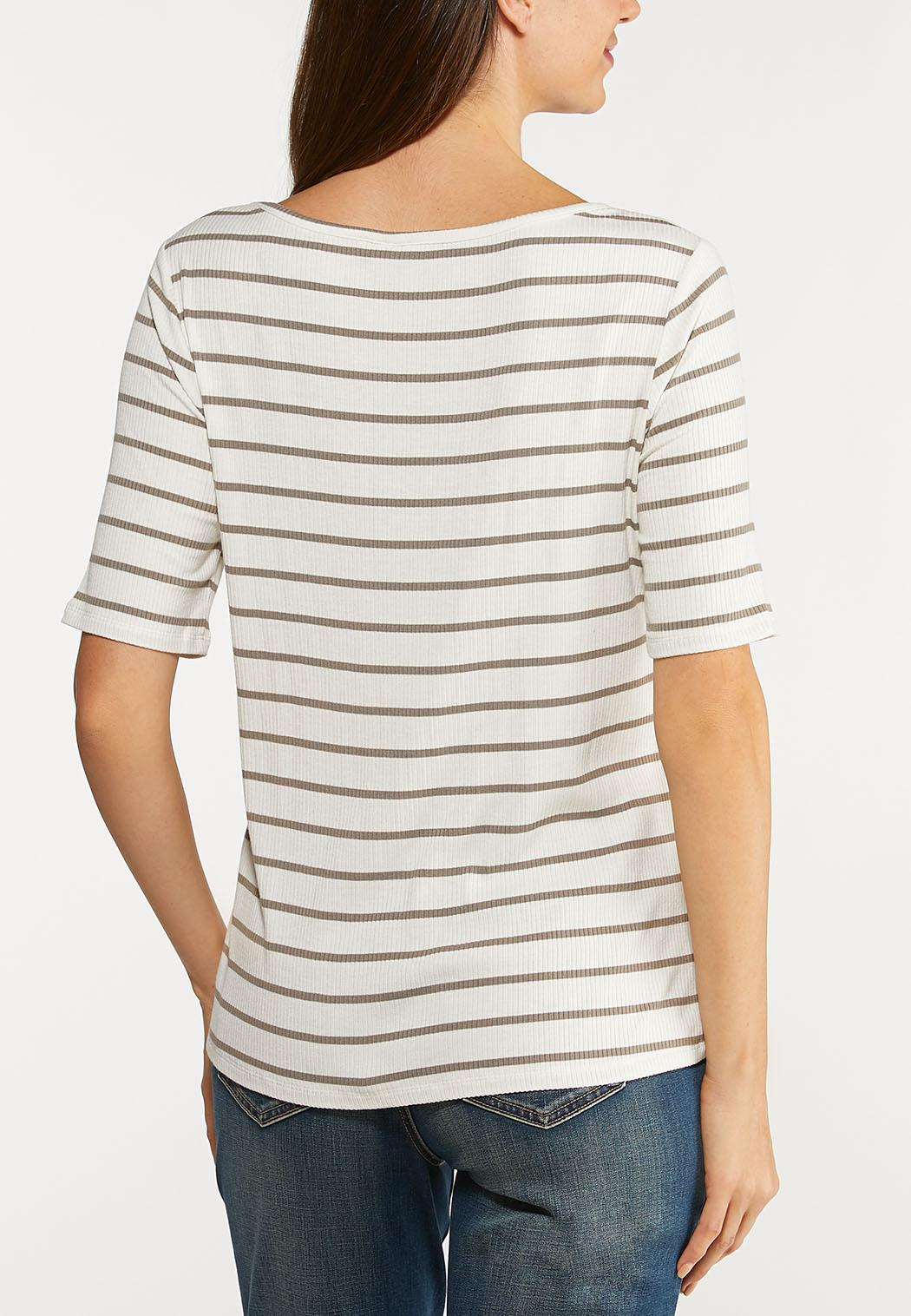 Plus Size Stripe Ribbed Top (Item #44094433)