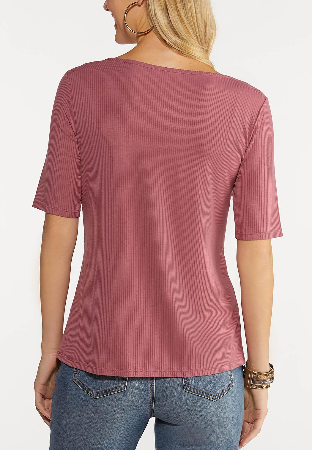 Plus Size Ribbed Square Neck Top (Item #44094499)