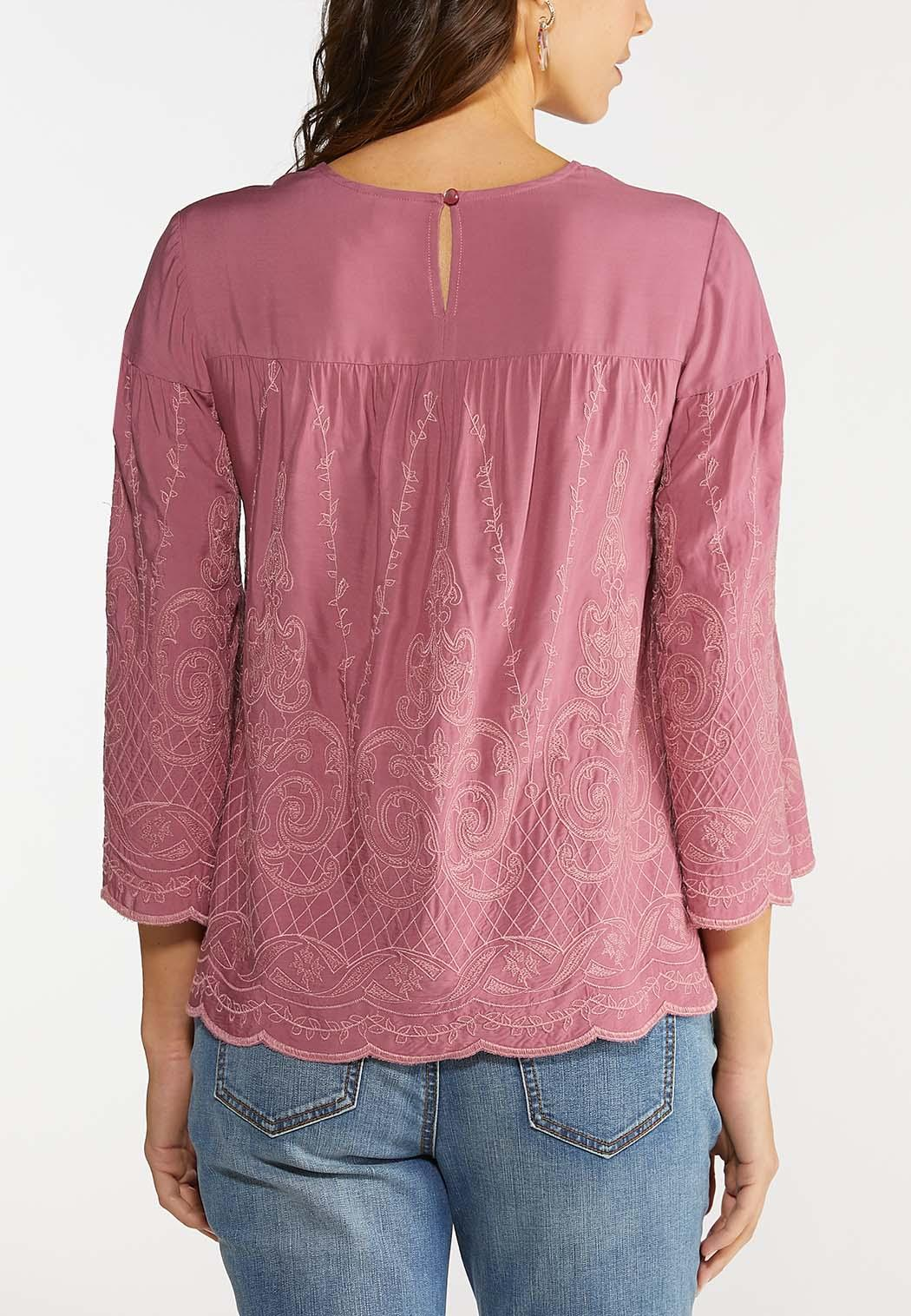 Plus Size Embroidered Scallop Hem Top (Item #44094721)