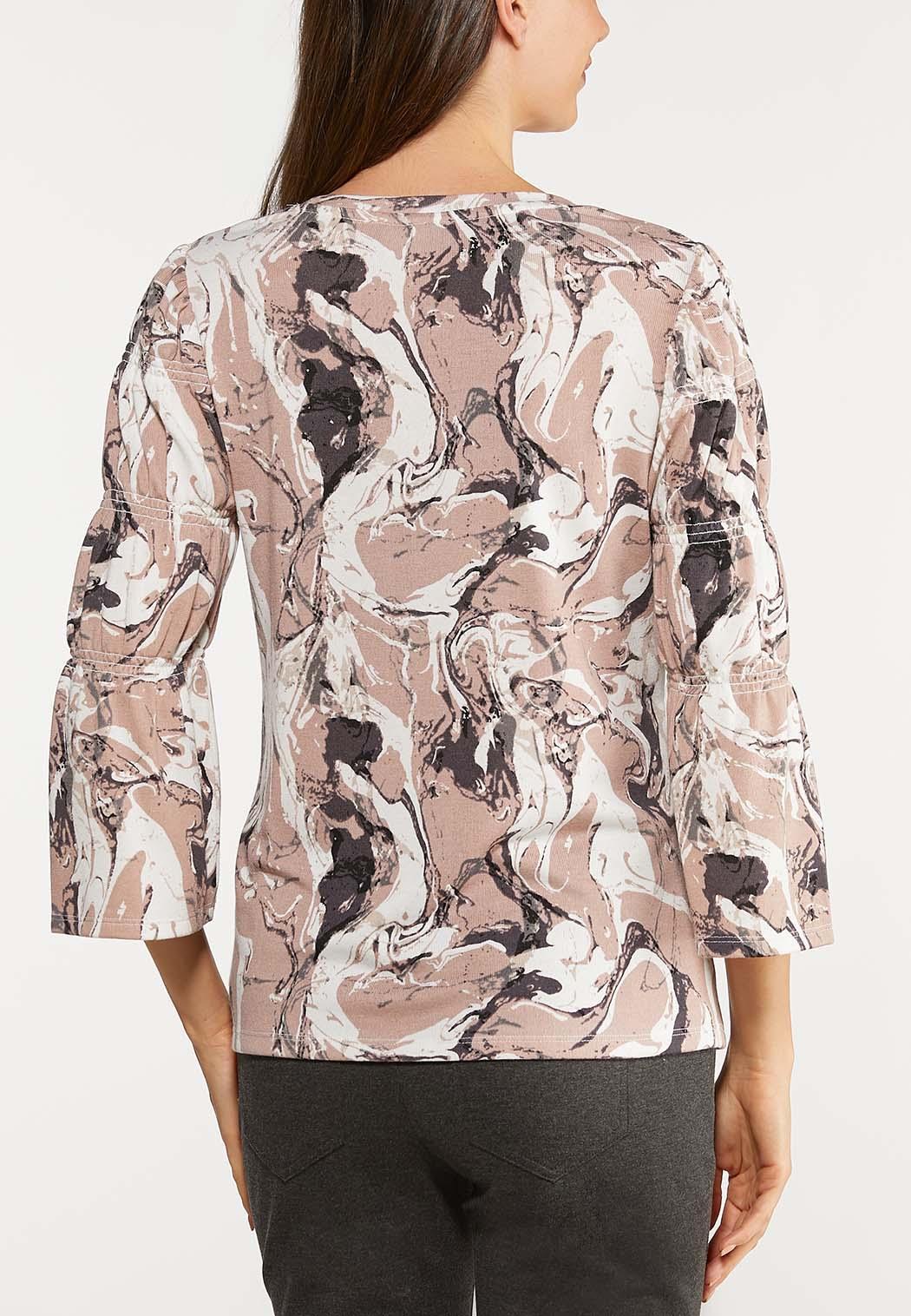 Plus Size Smock Sleeve Marble Top (Item #44094931)