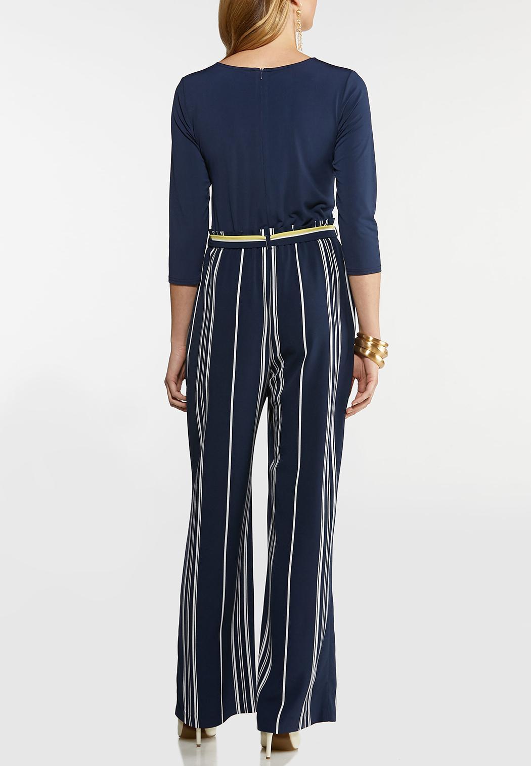 Striped Keyhole Jumpsuit (Item #44095778)