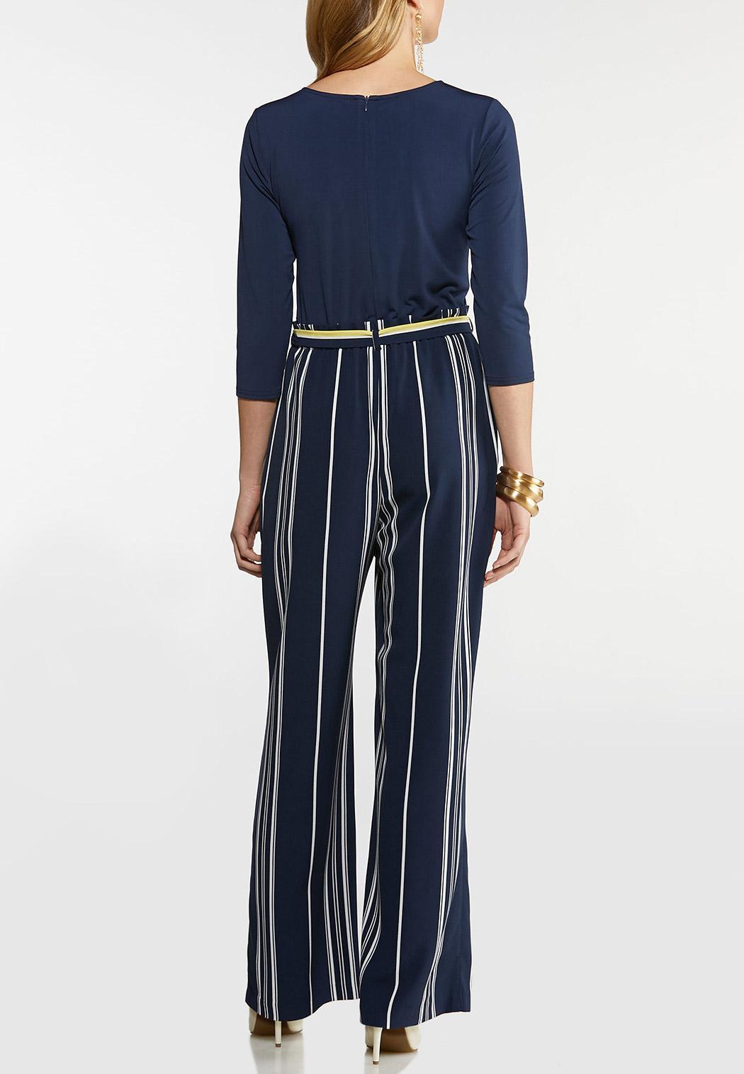 Petite Striped Keyhole Jumpsuit (Item #44095788)