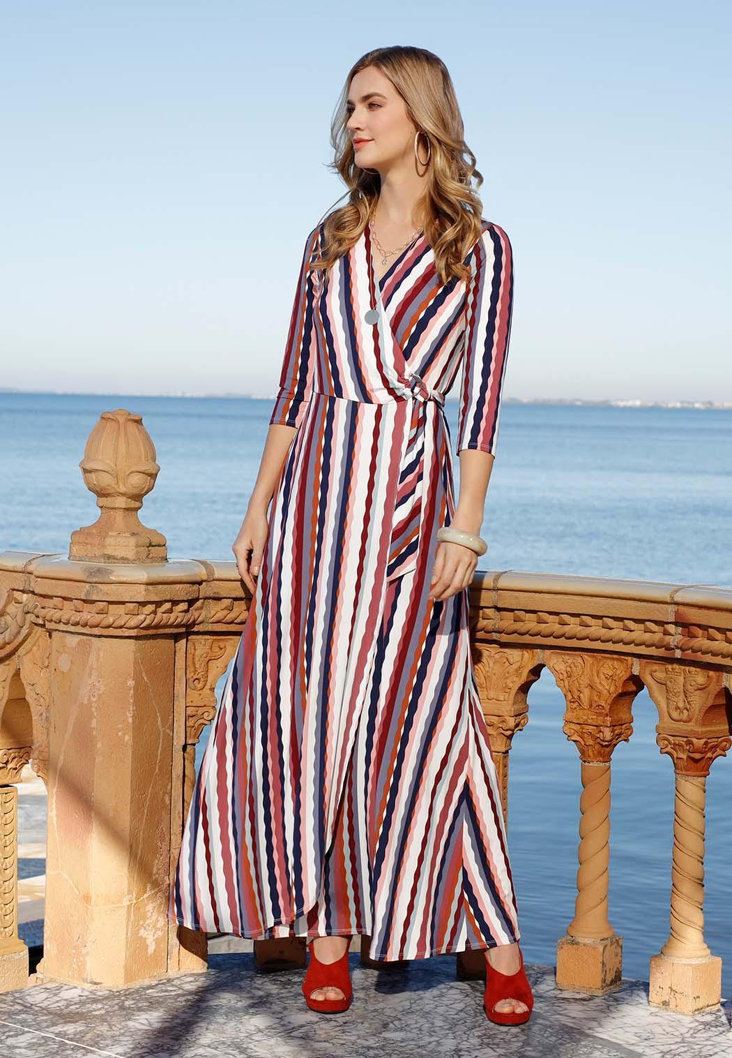 Petite Stripe Wrap Maxi Dress (Item #44096141)