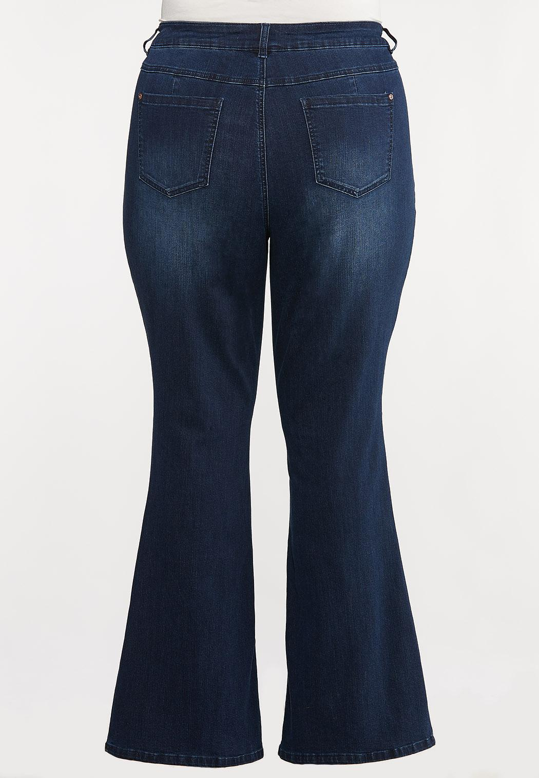Plus Size Dark Wash Flare Jeans (Item #44096537)
