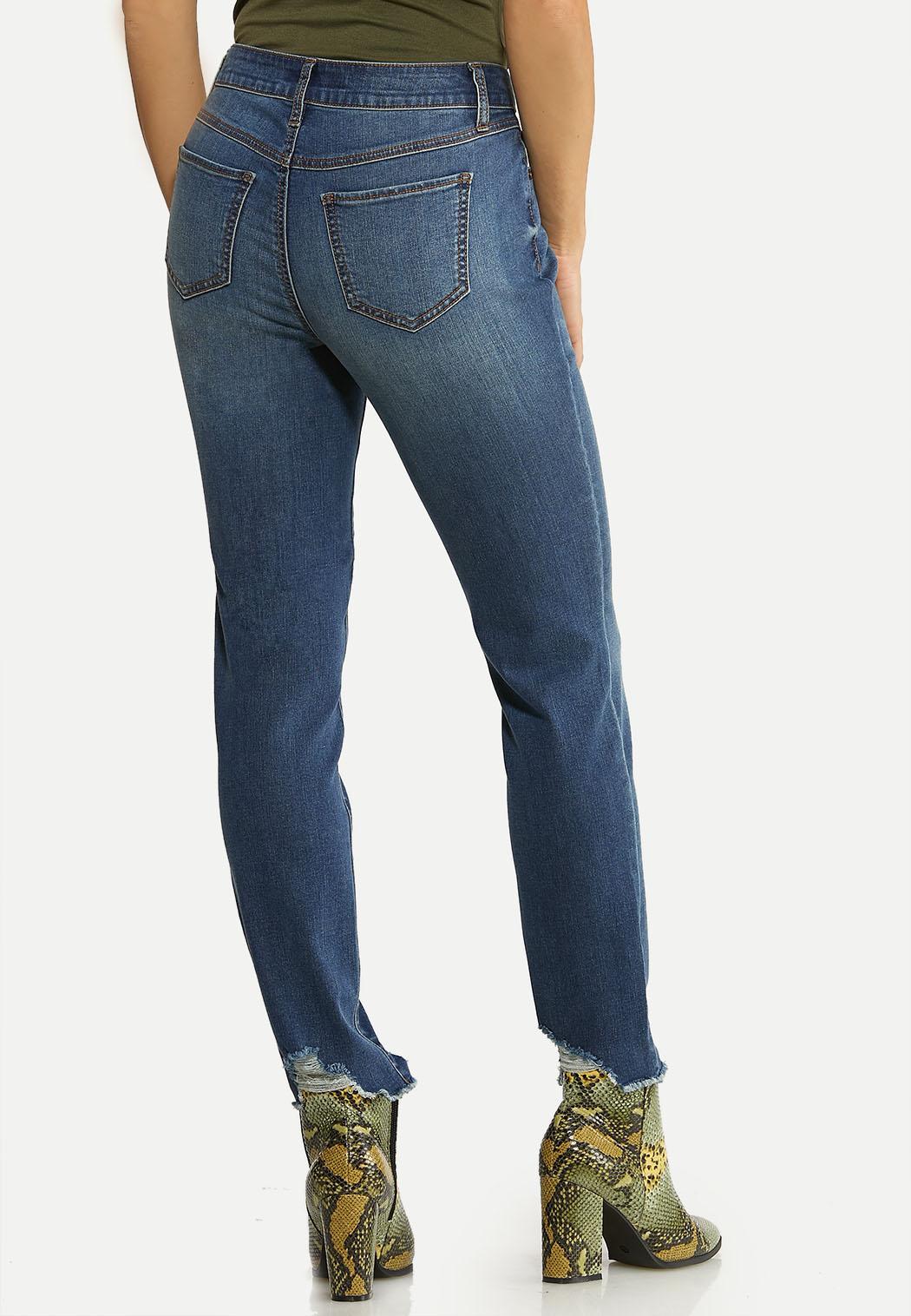 Distressed Hem Skinny Jeans (Item #44097452)