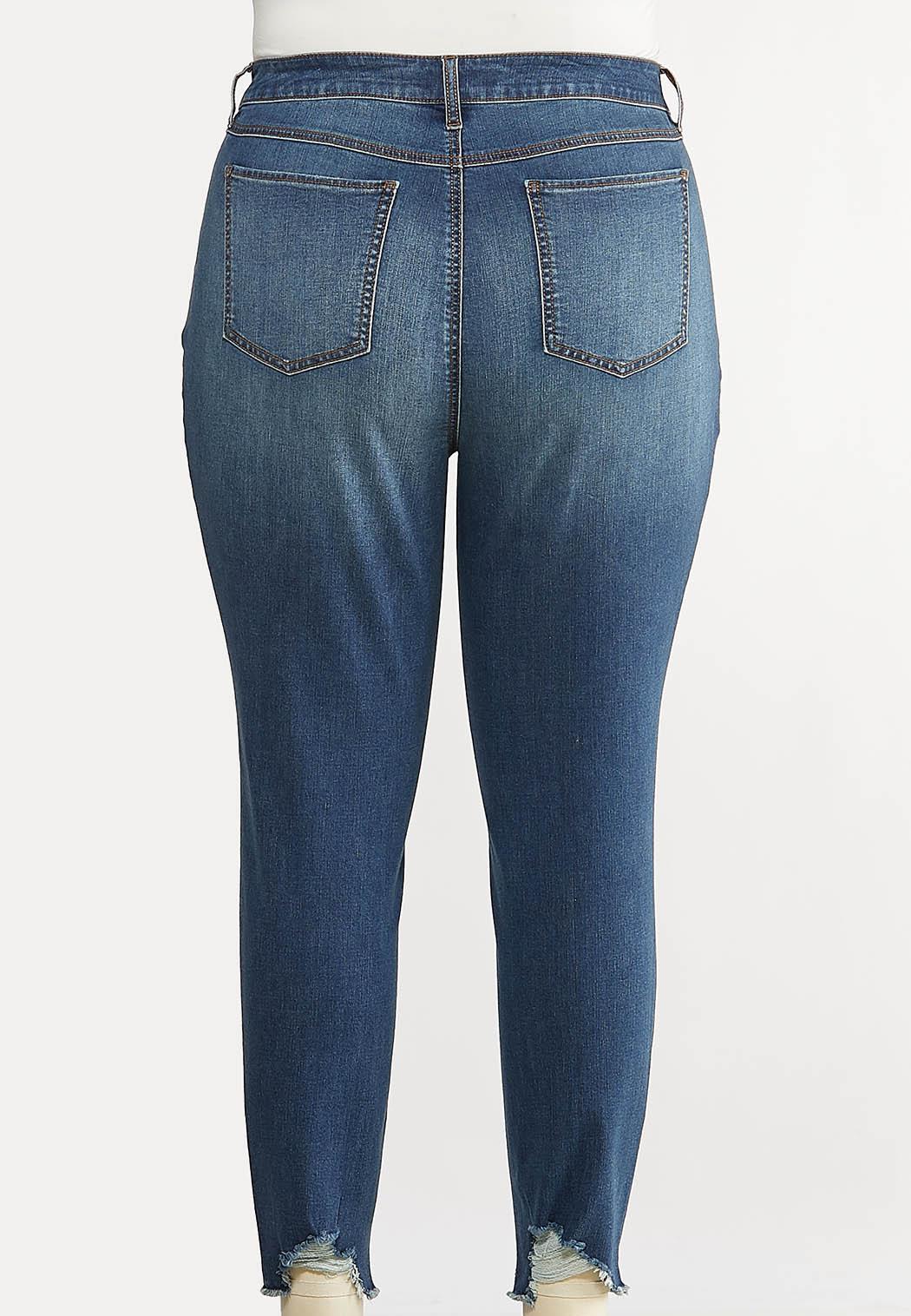 Plus Size Destructed Hem Skinny Jeans (Item #44097483)