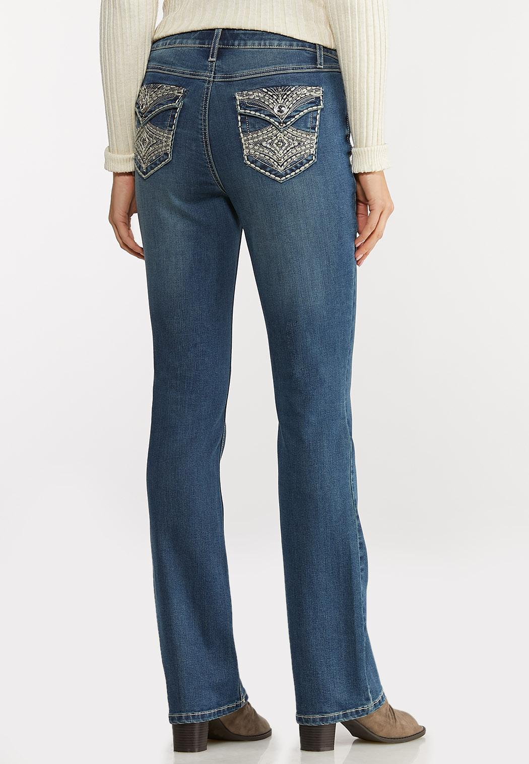 Petite Stud Stitch Bootcut Jeans (Item #44097572)