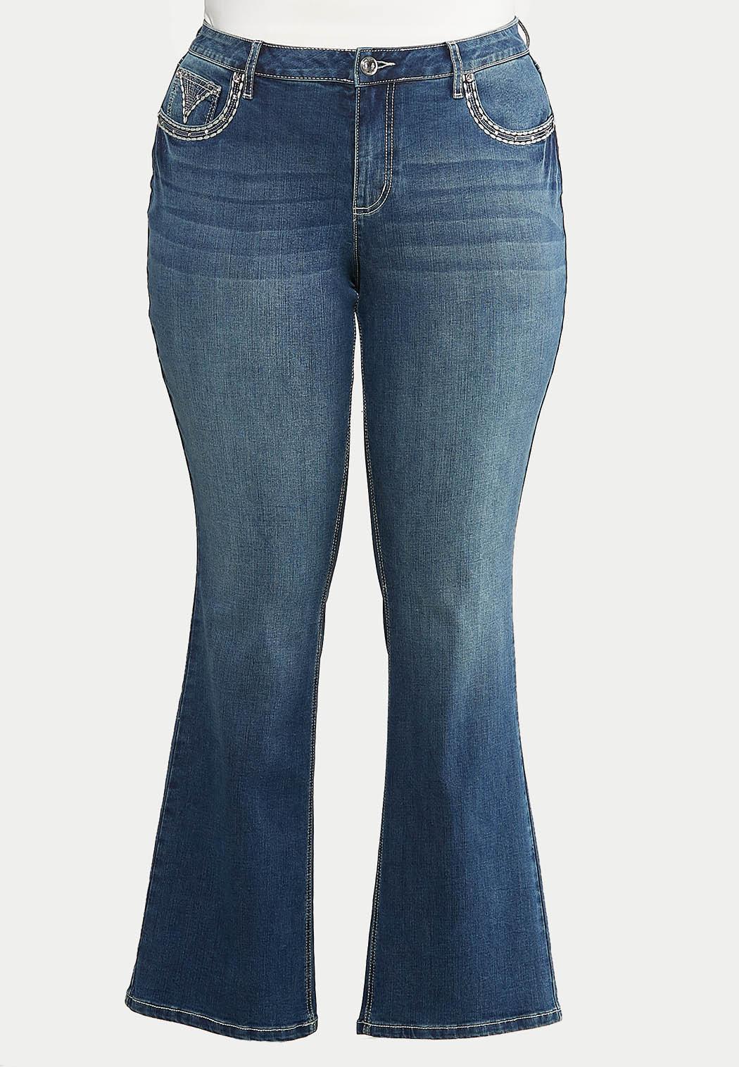Plus Size Stud Stitch Bootcut Jeans (Item #44097616)