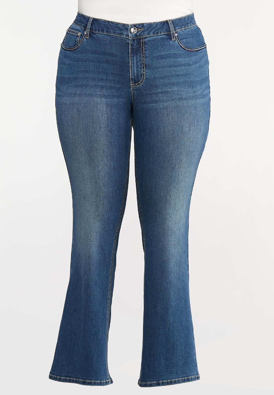 Plus Size Sparkling Floral Pocket Jeans (Item #44097665)
