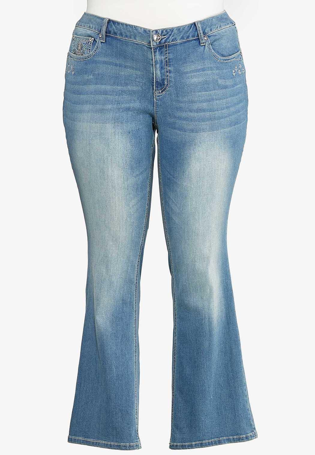 Plus Size Cross Pocket Jeans (Item #44097755)