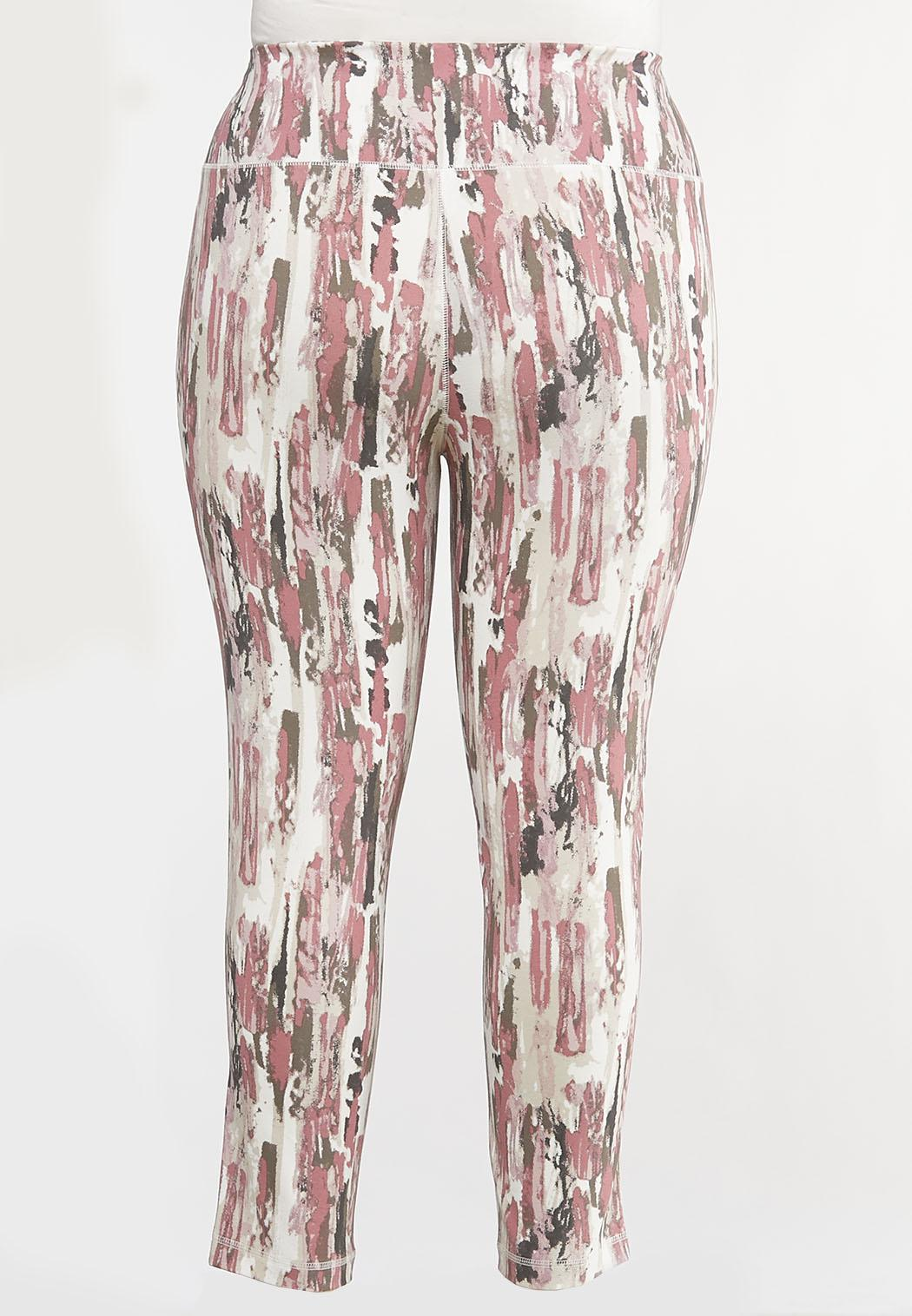 Plus Size Abstract Tie Dye Leggings (Item #44098029)