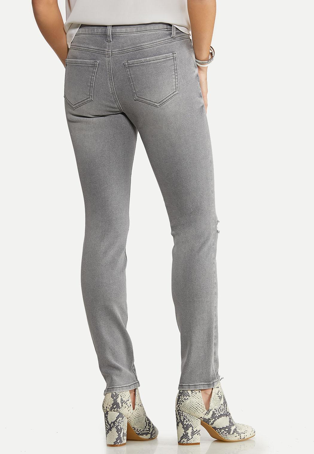 Gray Destructed Skinny Jeans (Item #44098219)