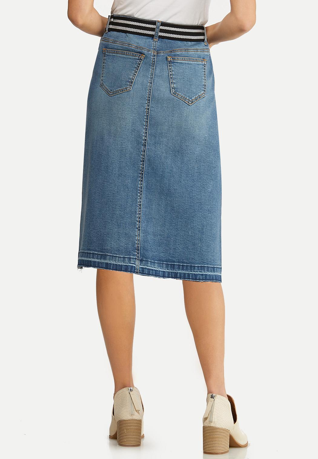 Plus Size Belted Denim Skirt (Item #44098321)