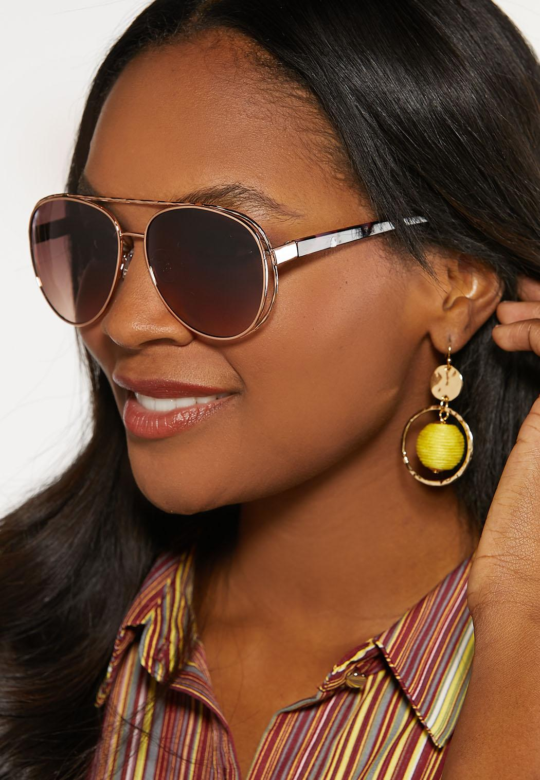Beveled Frame Aviator Sunglasses (Item #44098378)
