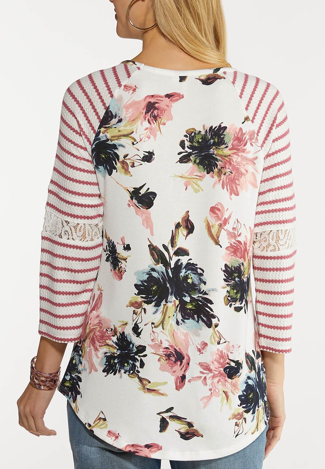 Plus Size Waffle Stripe Floral Top (Item #44098835)