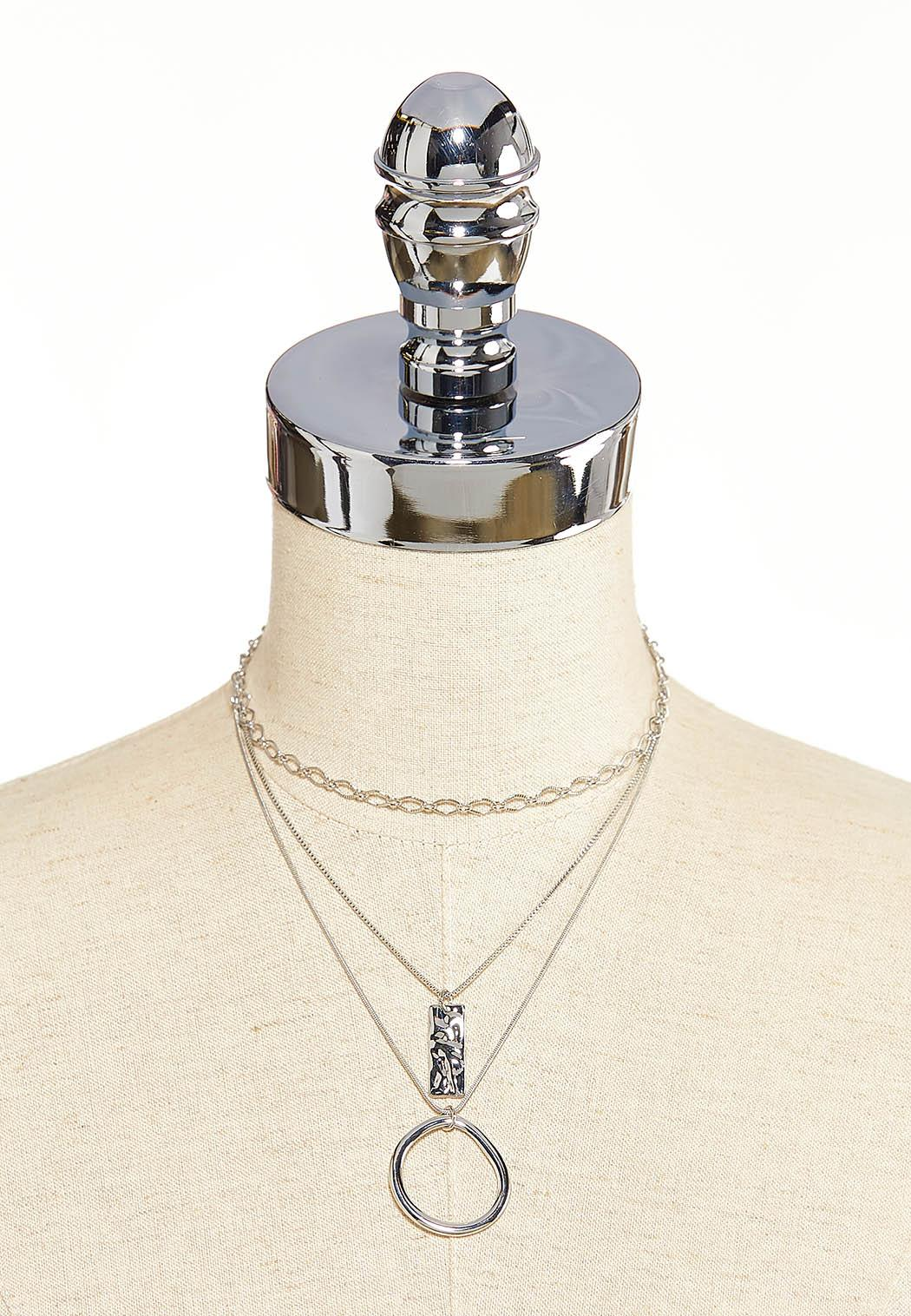 Layered Hammered Pendant Necklace (Item #44099362)