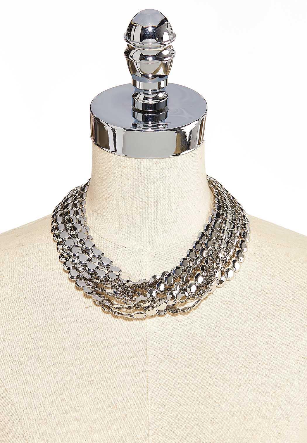 Multi Silver Disc Necklace (Item #44099366)