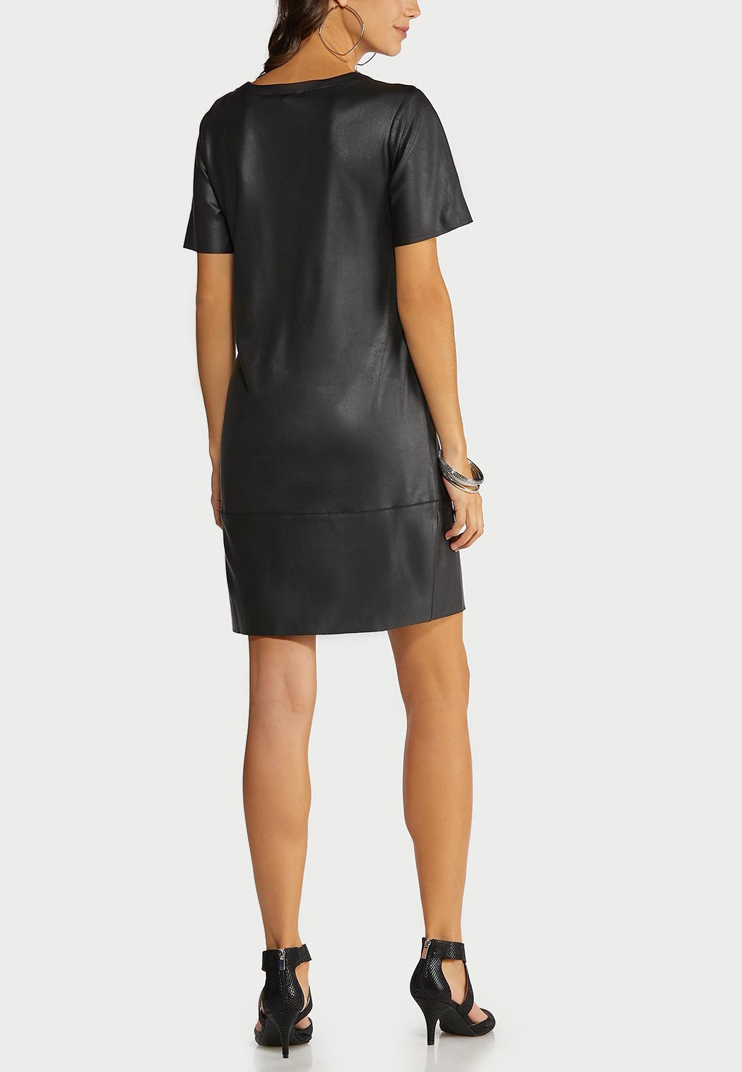 Faux Leather Shift Dress (Item #44099799)