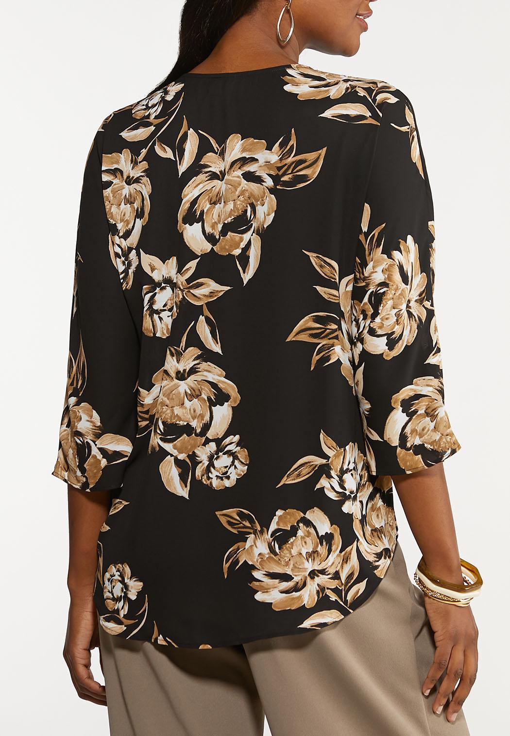 Plus Size Floral Button Down Top (Item #44100622)