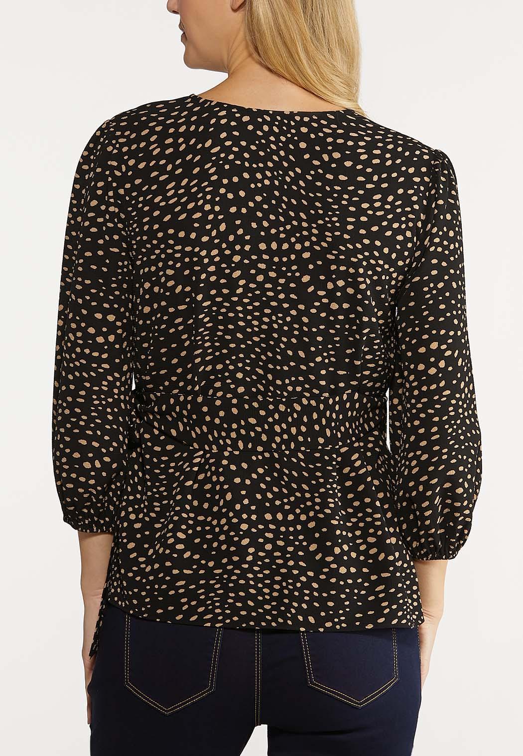 Plus Size Speckled Wrap Top (Item #44100685)