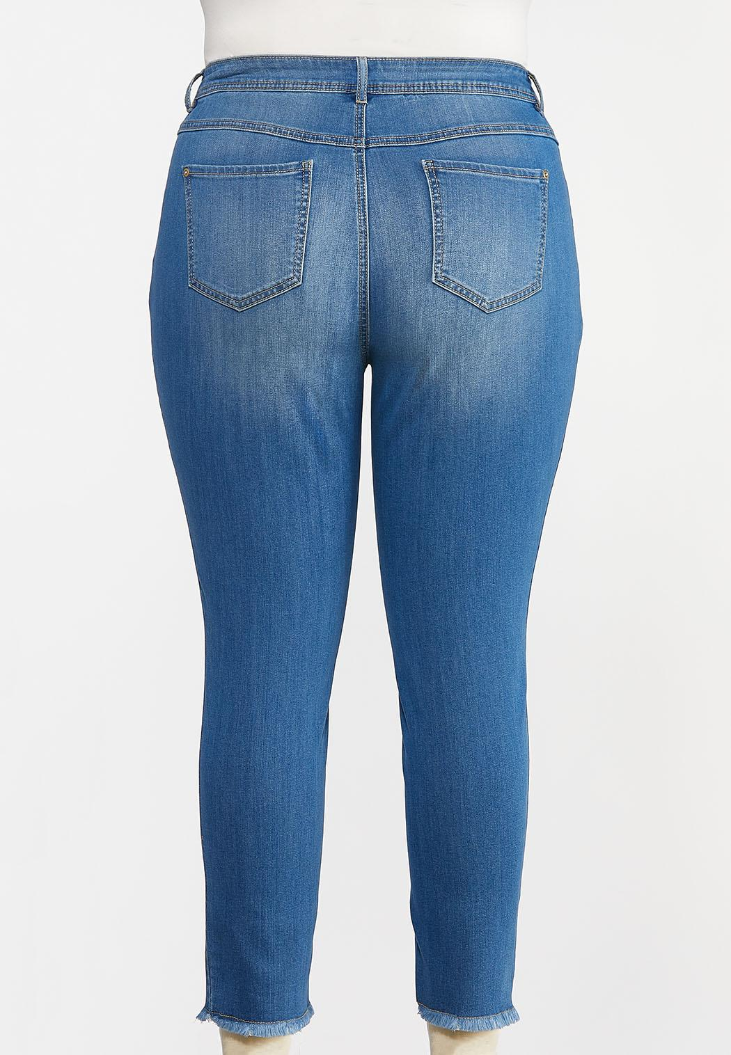 Plus Size Distressed Ankle Skinny Jeans (Item #44100874)