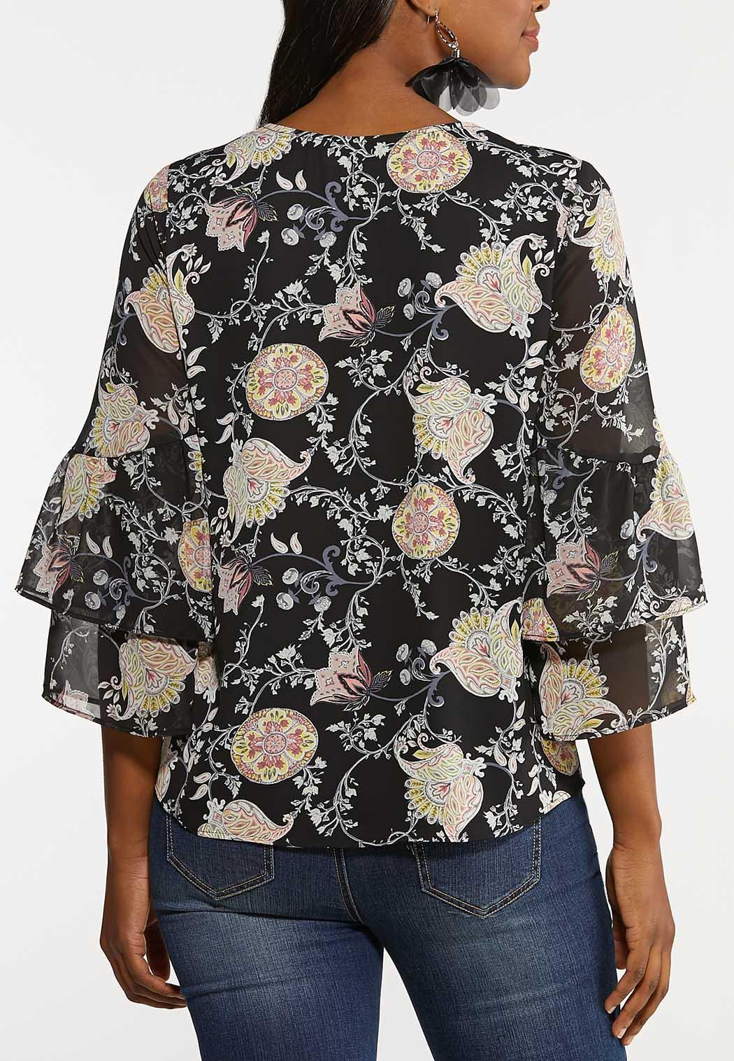 Plus Size Tiered Paisley Top (Item #44100876)