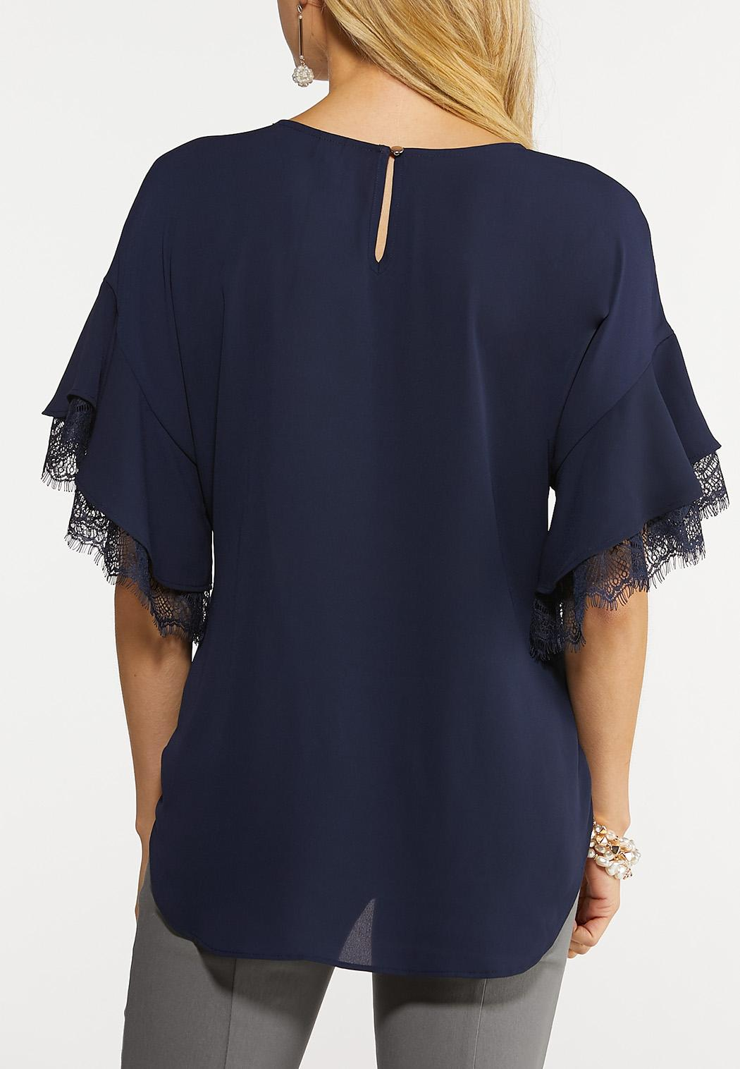Plus Size Lacy Sleeve Top (Item #44101031)