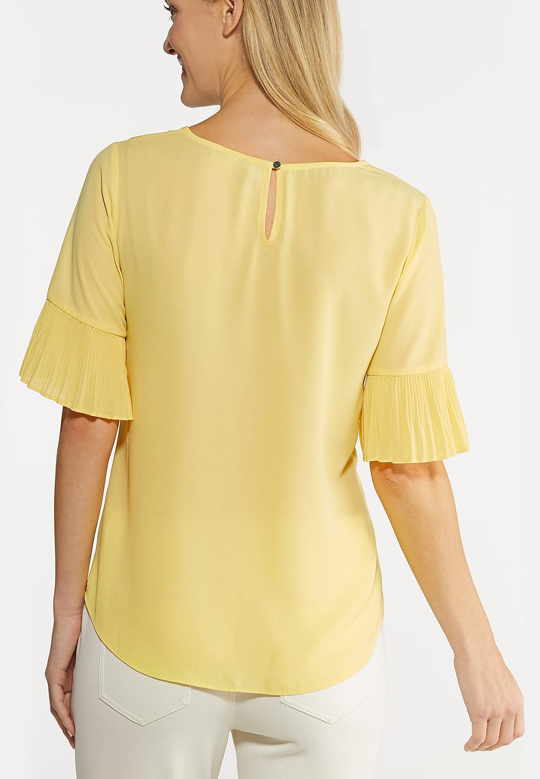 Plus Size Pleated Flutter Sleeve Top (Item #44101067)