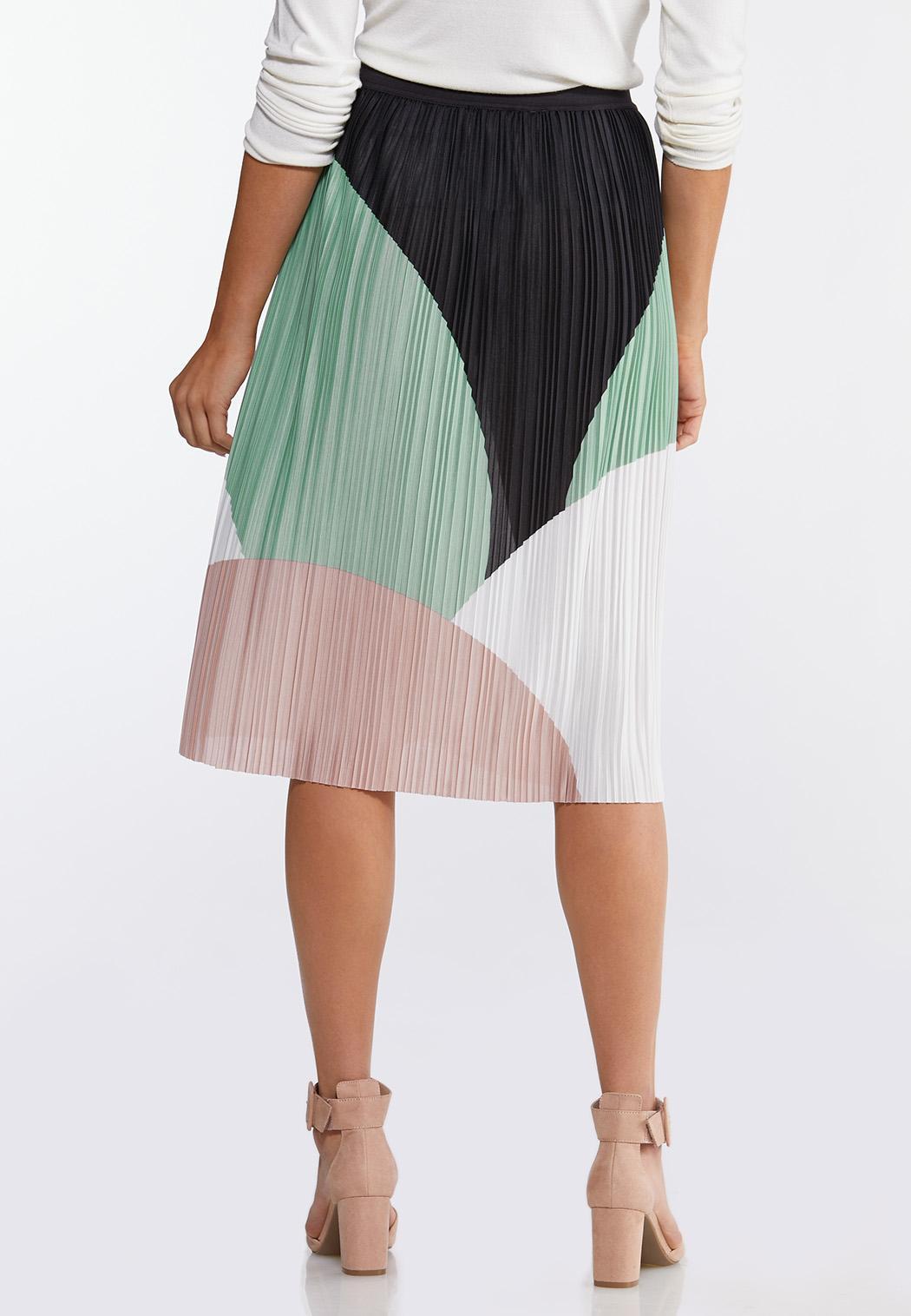Colorblock Pleated Midi Skirt (Item #44101478)