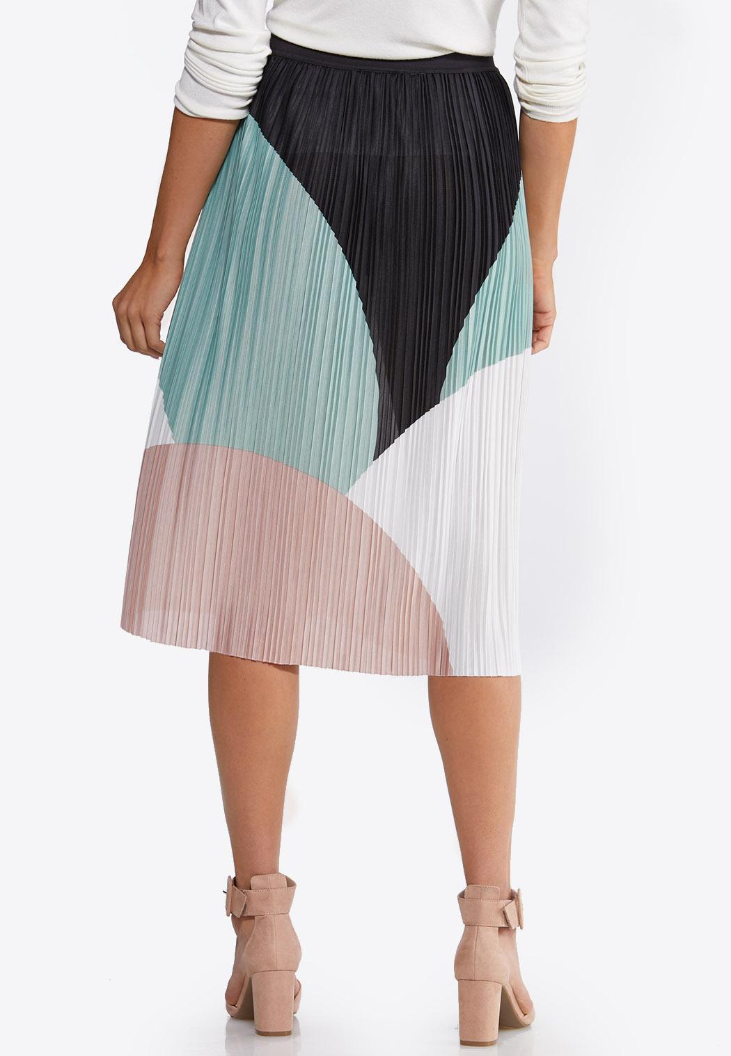 Plus Size Colorblock Pleated Midi Skirt (Item #44101521)