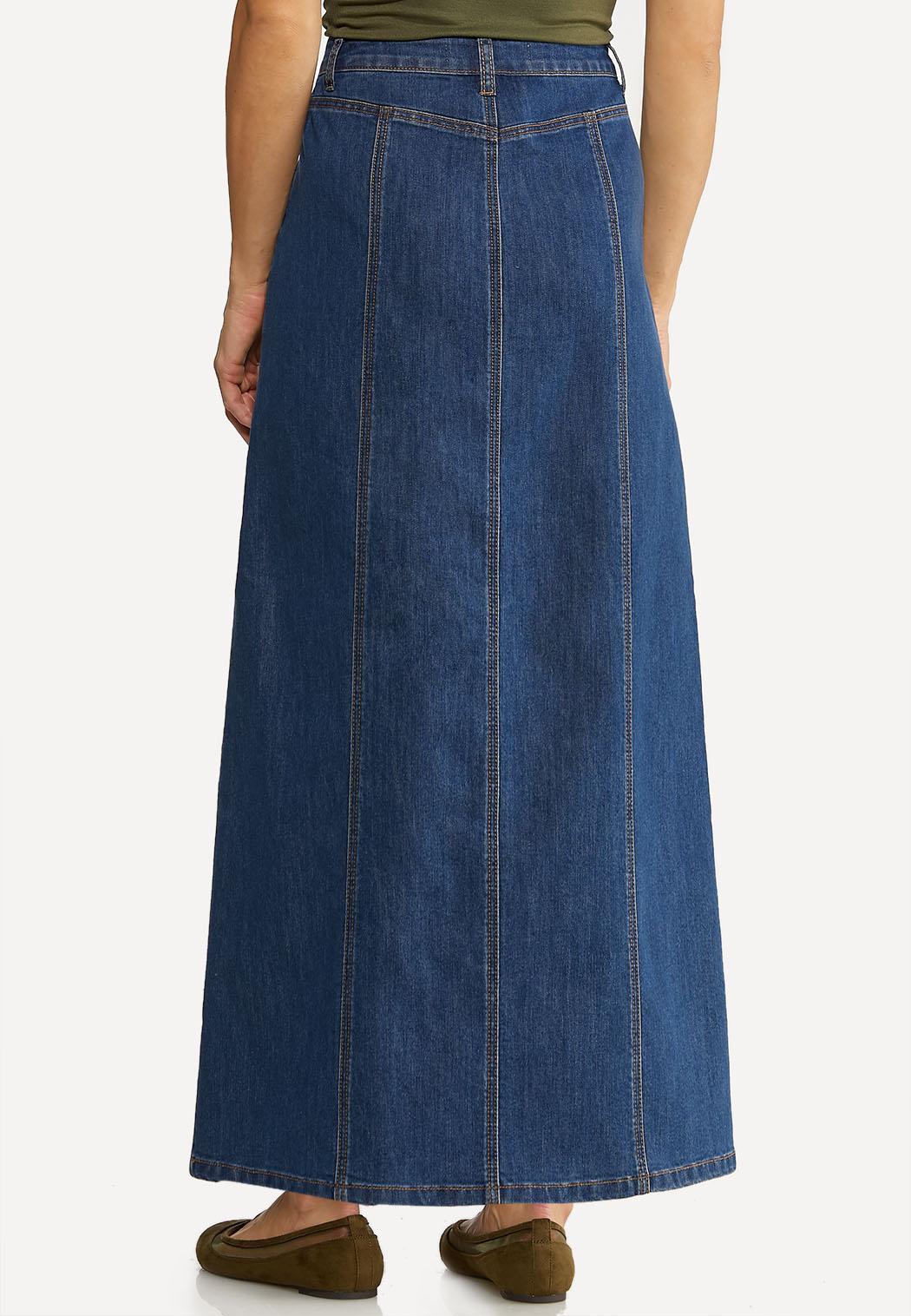 Panel Denim Maxi Skirt (Item #44102017)