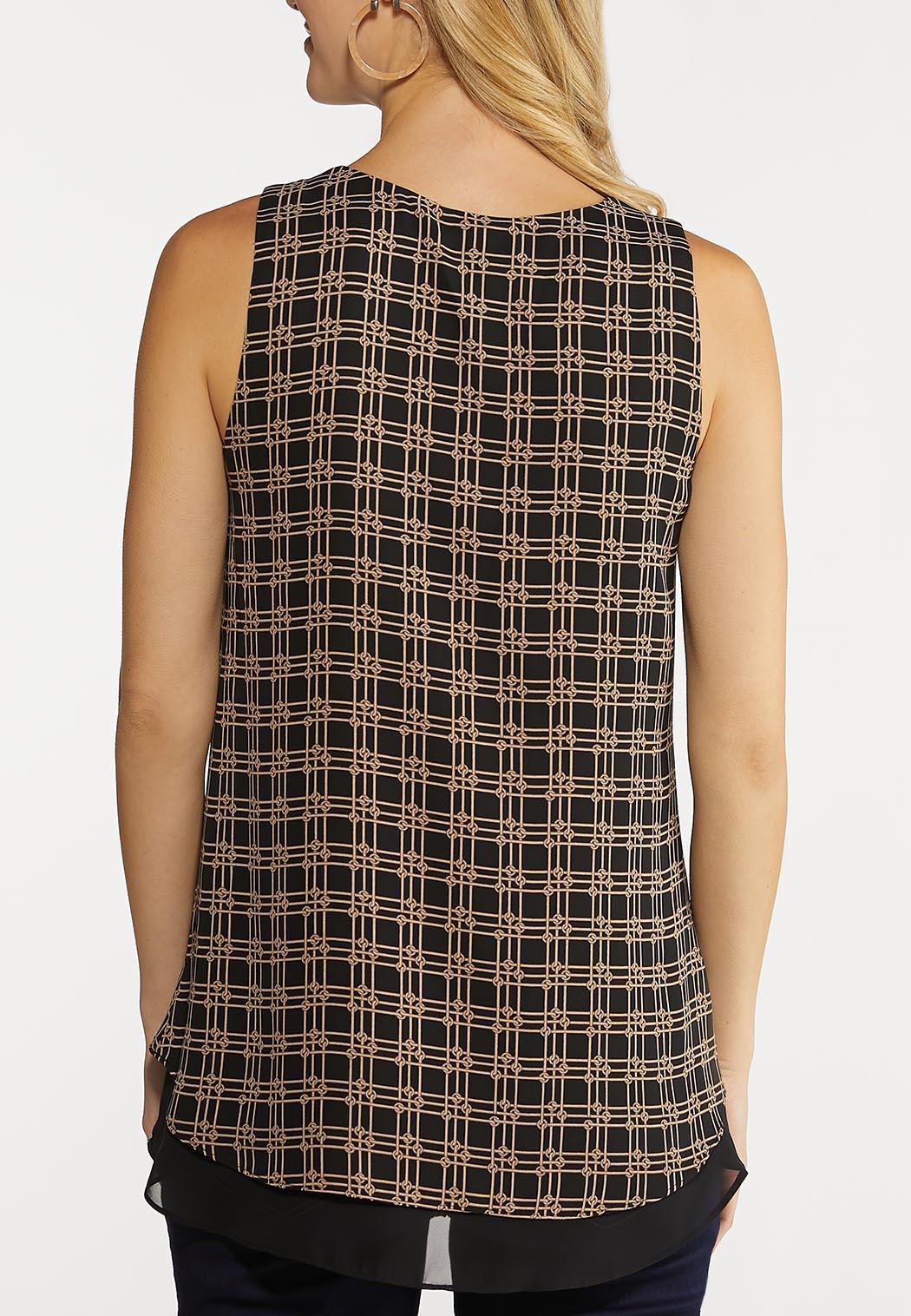 Plus Size Layered Knot Print Tank (Item #44102466)