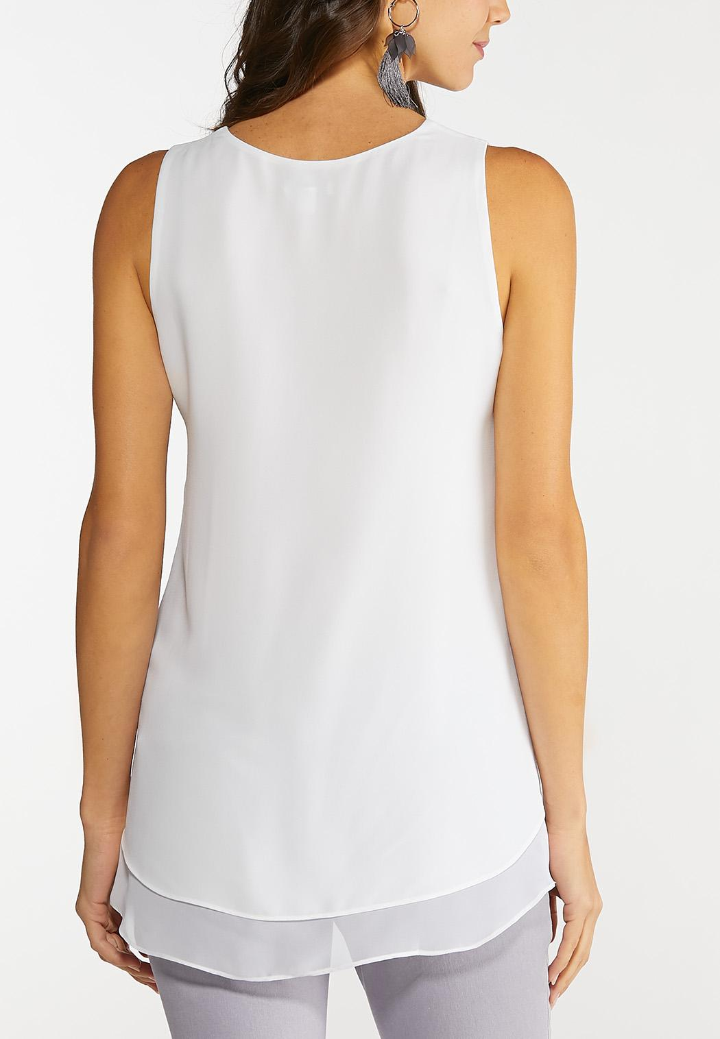 Plus Size Solid Woven Tank (Item #44102748)