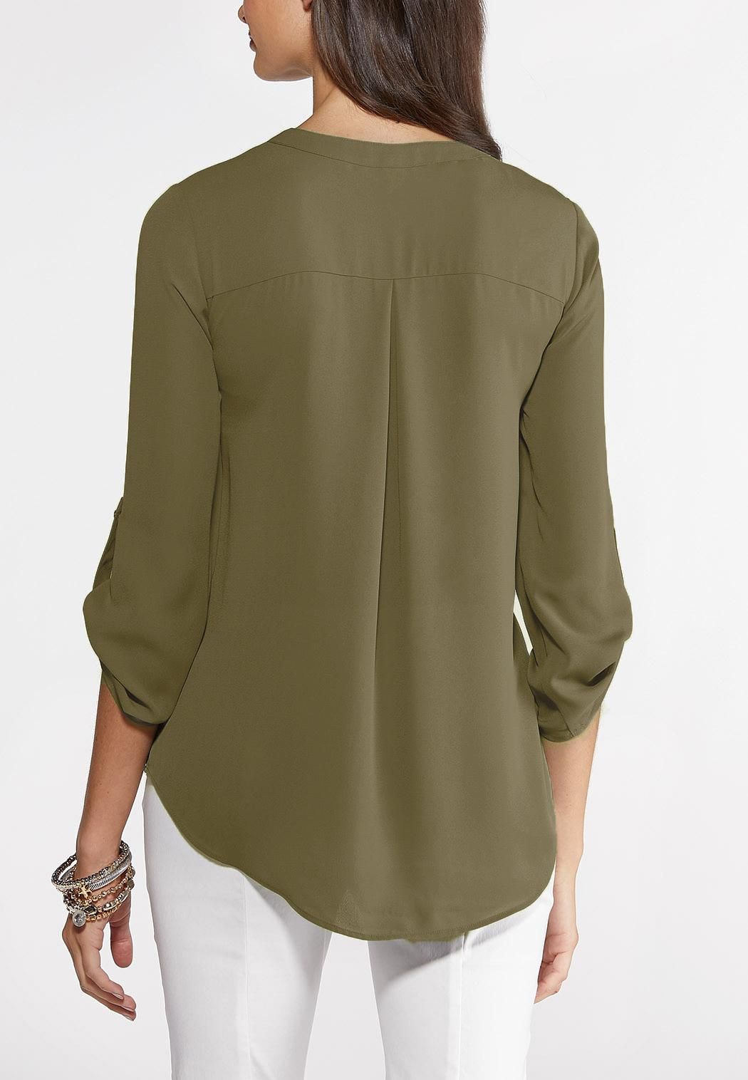 Plus Size Solid Equipment Shirt (Item #44102887)