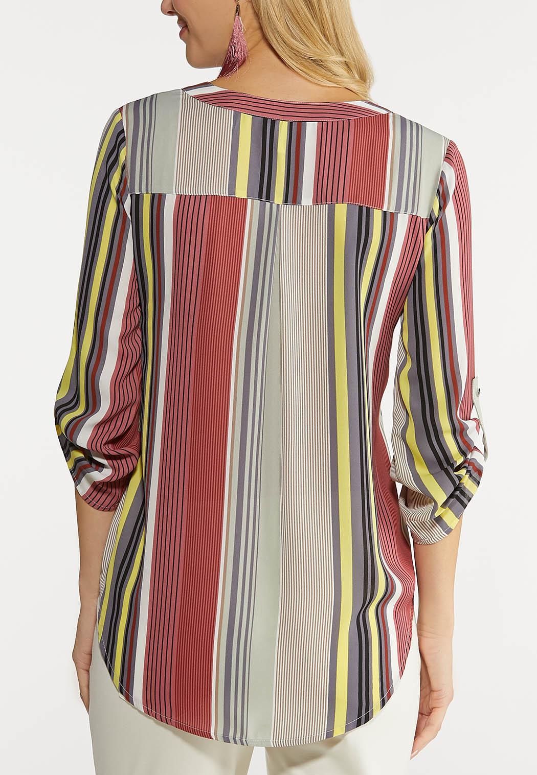 Plus Size Multi Stripe Popover Top (Item #44102970)