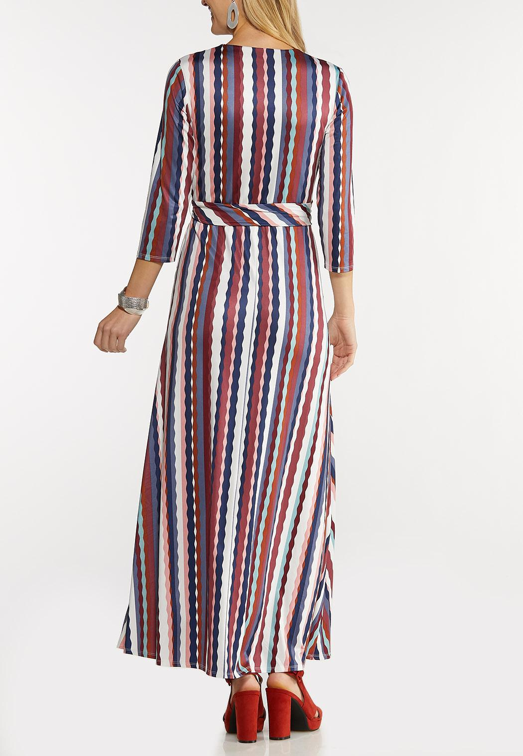 Plus Size Stripe Wrap Maxi Dress (Item #44103068)